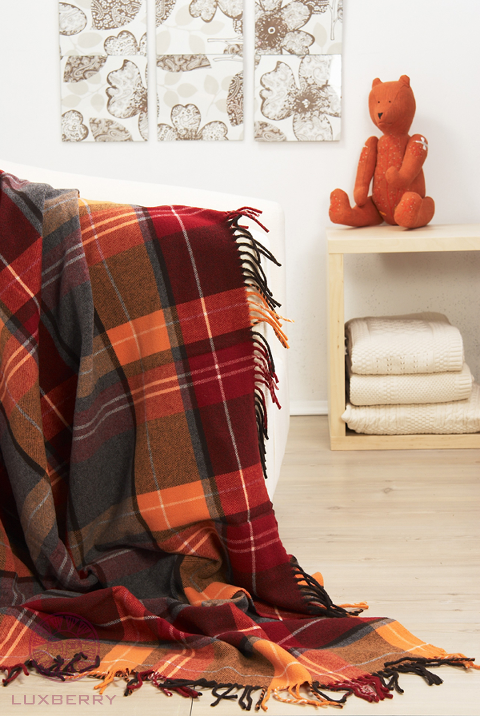 Купить Пледы и покрывала Luxberry, Плед Vandyck Цвет: Оранжевый, Бордовый (130х170 см), Португалия, Красный, Оранжевый, Твил из овечьей шерсти