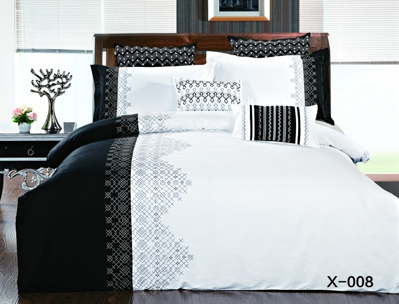 Купить Комплекты постельного белья Mioletto, Постельное белье Lorainne (2 сп. евро), Китай, Черно-белый, Хлопковый сатин