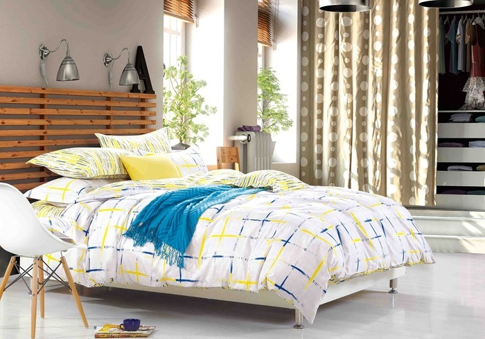 Купить Комплекты постельного белья Mioletto, Постельное белье Cedric (семейное), Китай, Белый, Голубой, Желтый, Хлопковый сатин