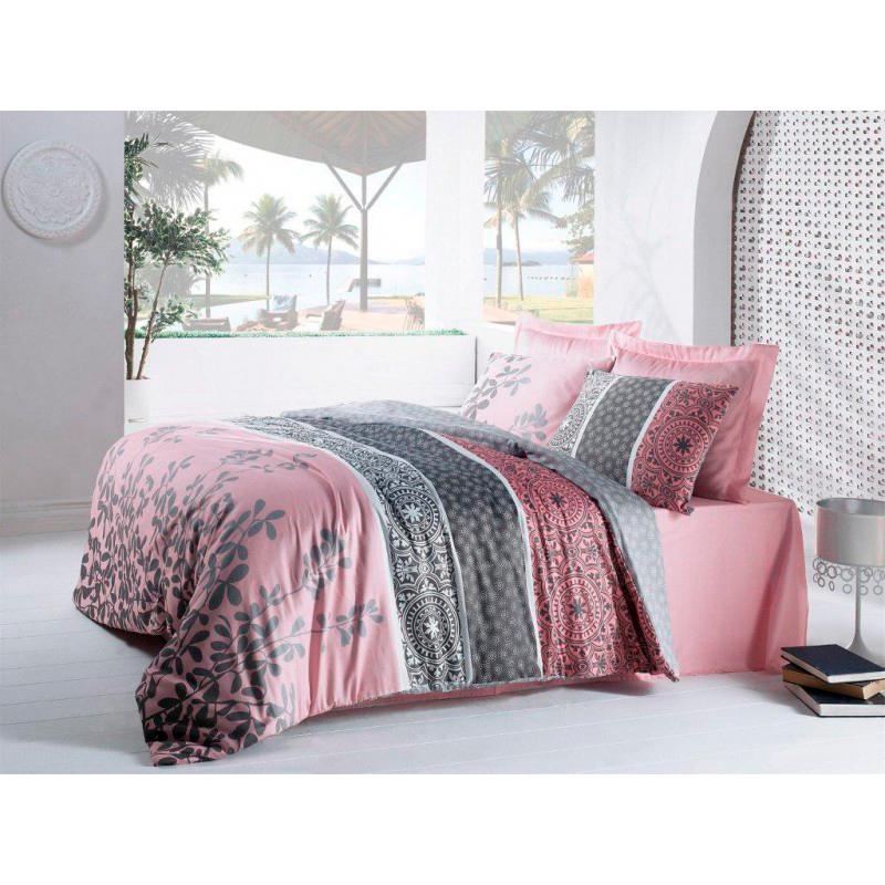 Купить Комплекты постельного белья IRIS, Постельное белье Beryl (2 сп. евро), Россия, Розовый, Серый, Хлопковый сатин