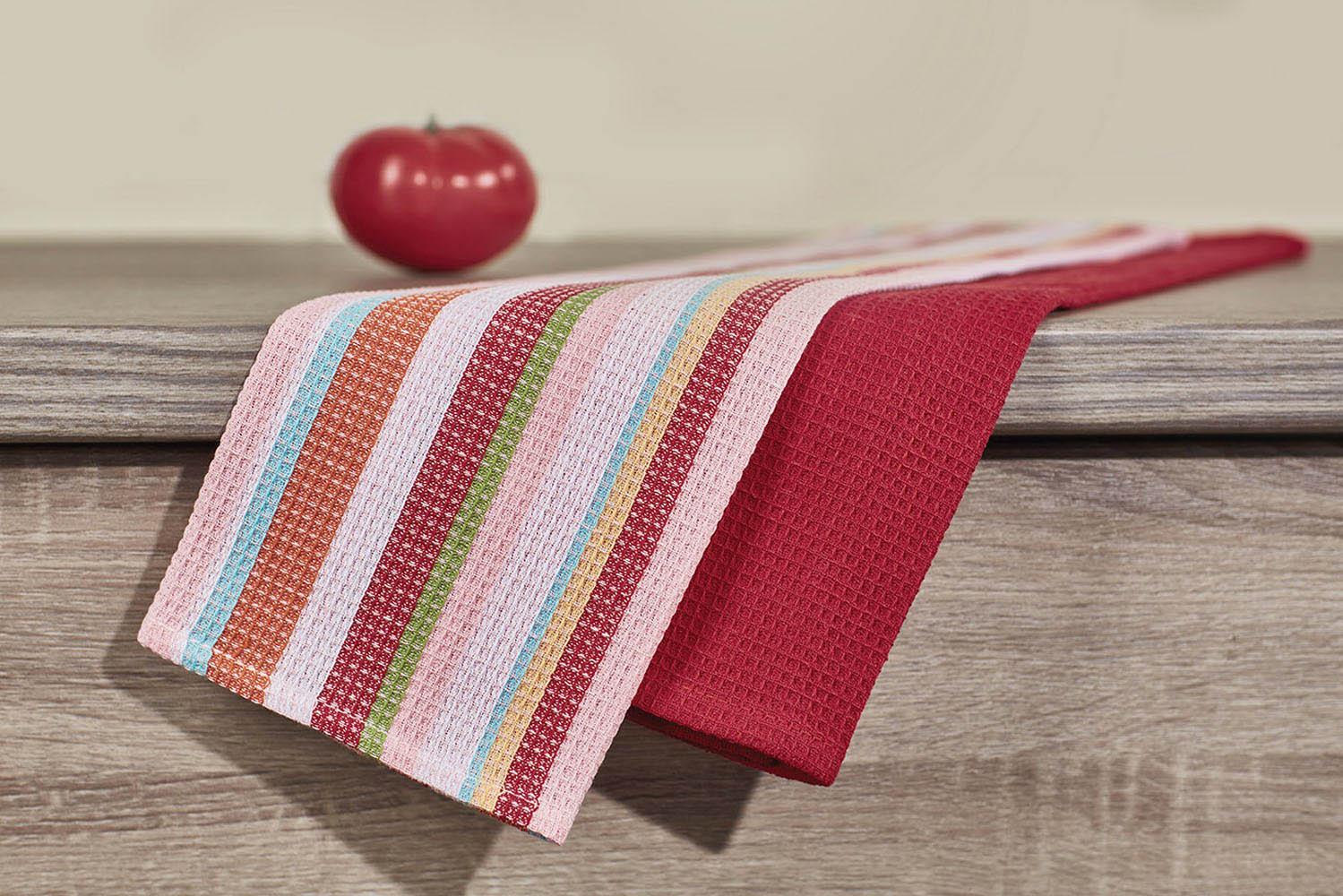 Купить Полотенца Primavelle, Кухонное полотенце Latte Цвет: Бордовый (40х60 см - 2 шт), Россия, Вафля