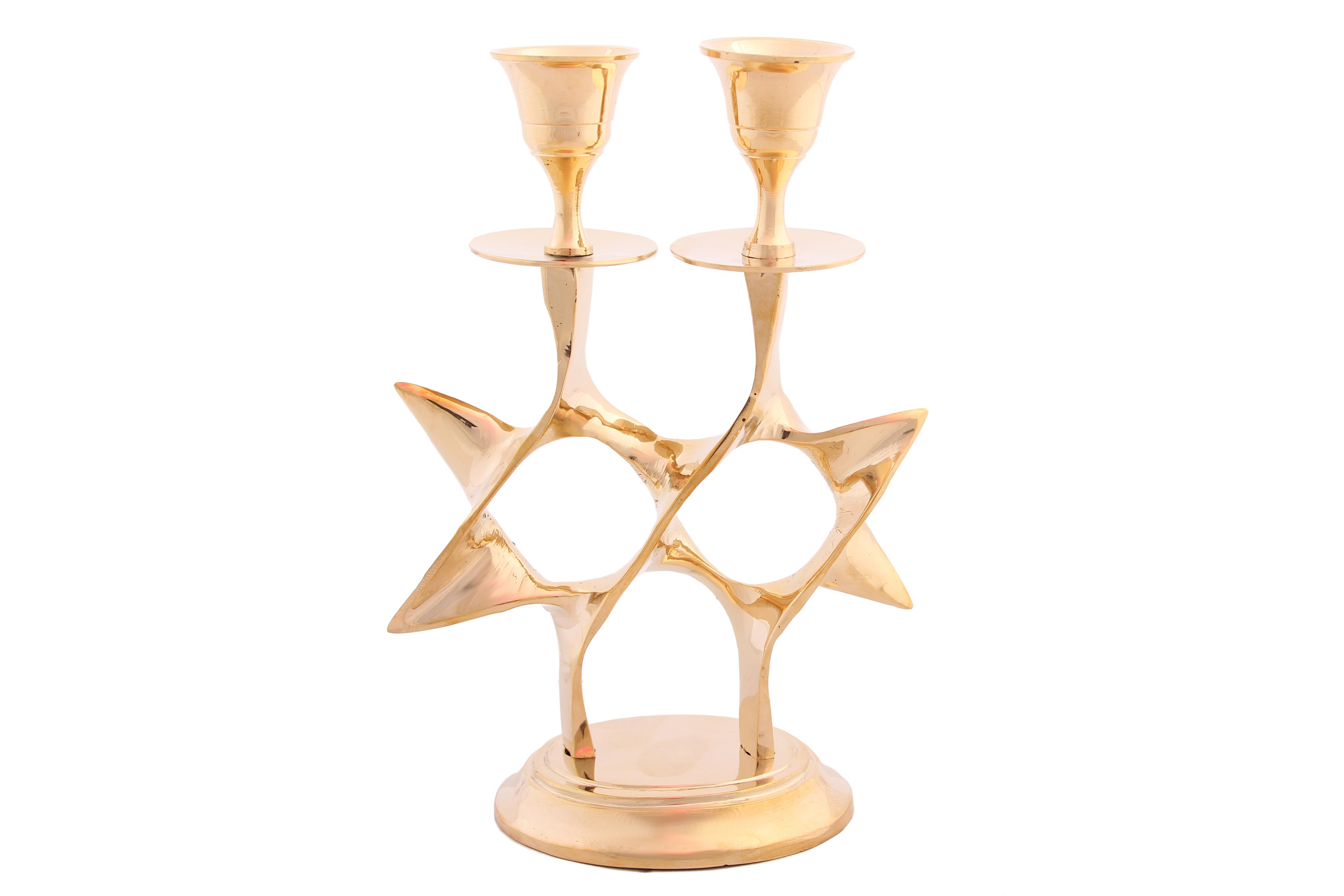 Купить Декоративные свечи Ганг, Подсвечник Звезда (7х13х18 см), Индия, Золотой, Латунь