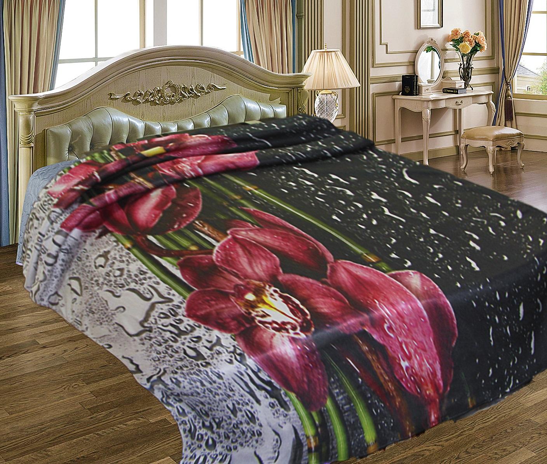 Купить Пледы и покрывала Elegante, Плед Орхидея на Стекле (150х200 см), Китай, Бордовый, Серый, Черный, Синтетический флис