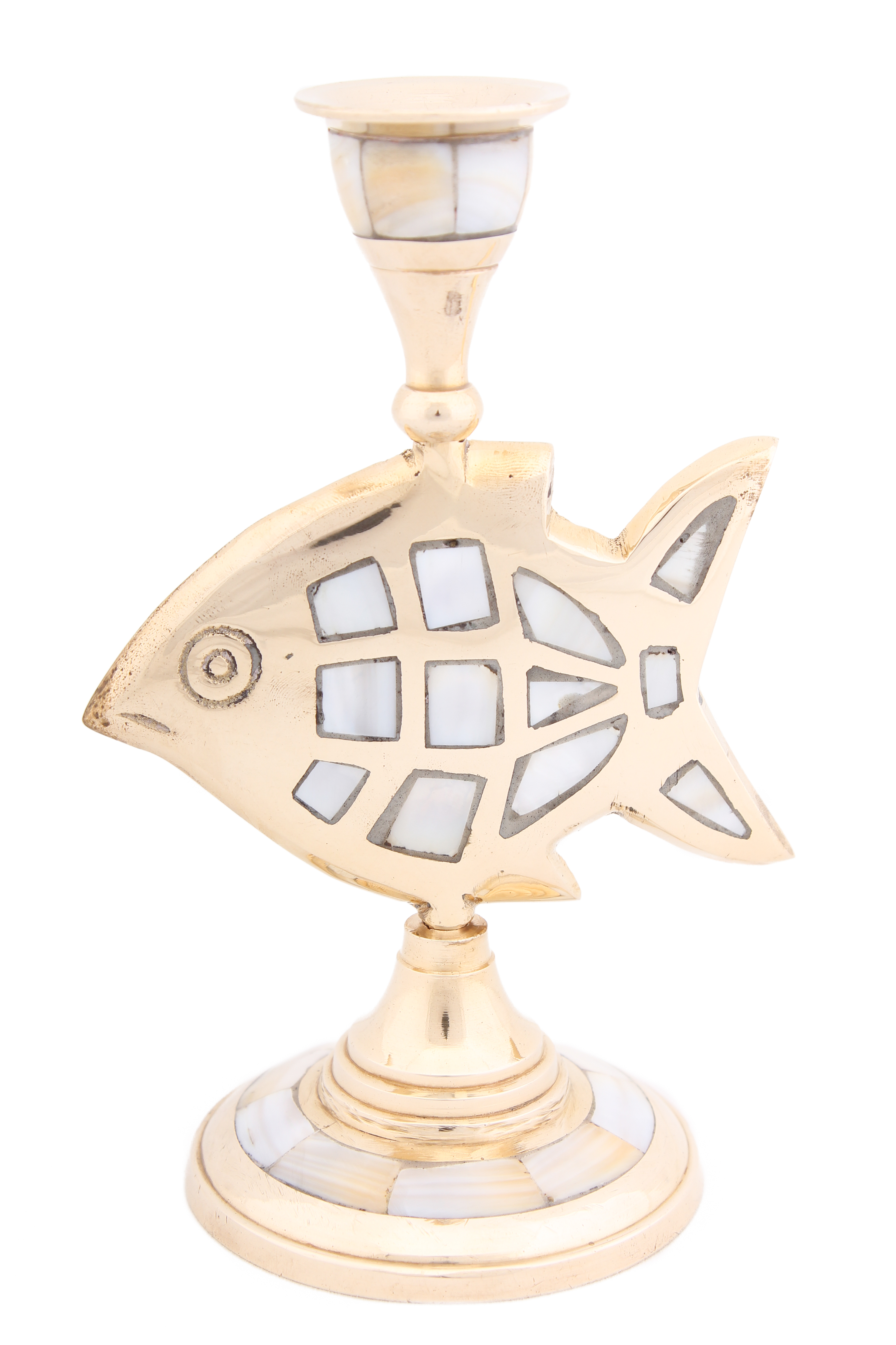 Купить Декоративные свечи Ганг, Подсвечник Рыба (8х10х16 см), Индия, Золотой, Латунь, Перламутр