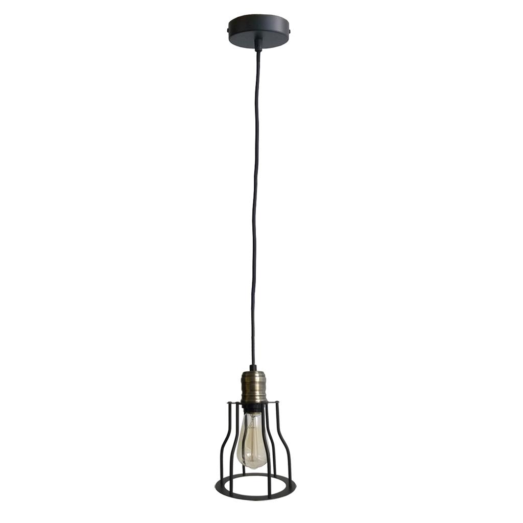Купить Настенно-потолочные светильники ARTEVALUCE, Светильник подвесной Cage Filament (15х24 см), Китай, Черный, Металл, Стекло