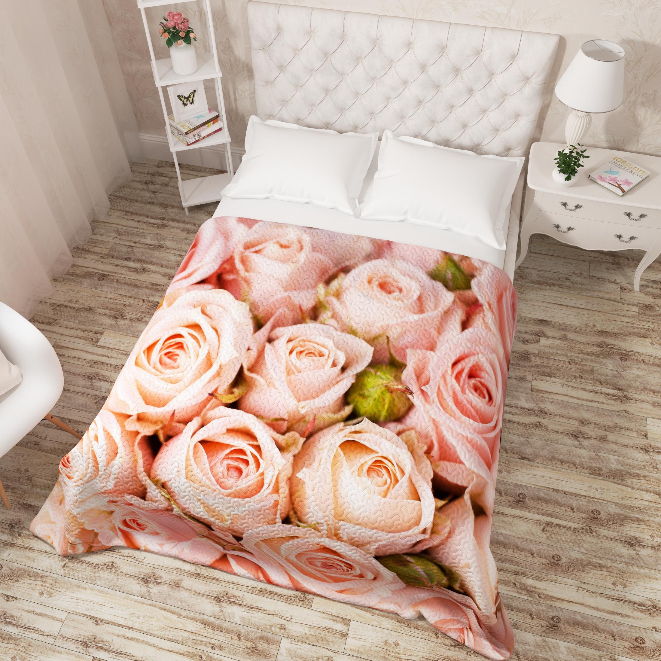 Купить Пледы и покрывала Сирень, Покрывало Молодые Розы (200х220 см), Россия, Персиковый, Розовый, Микрофибра