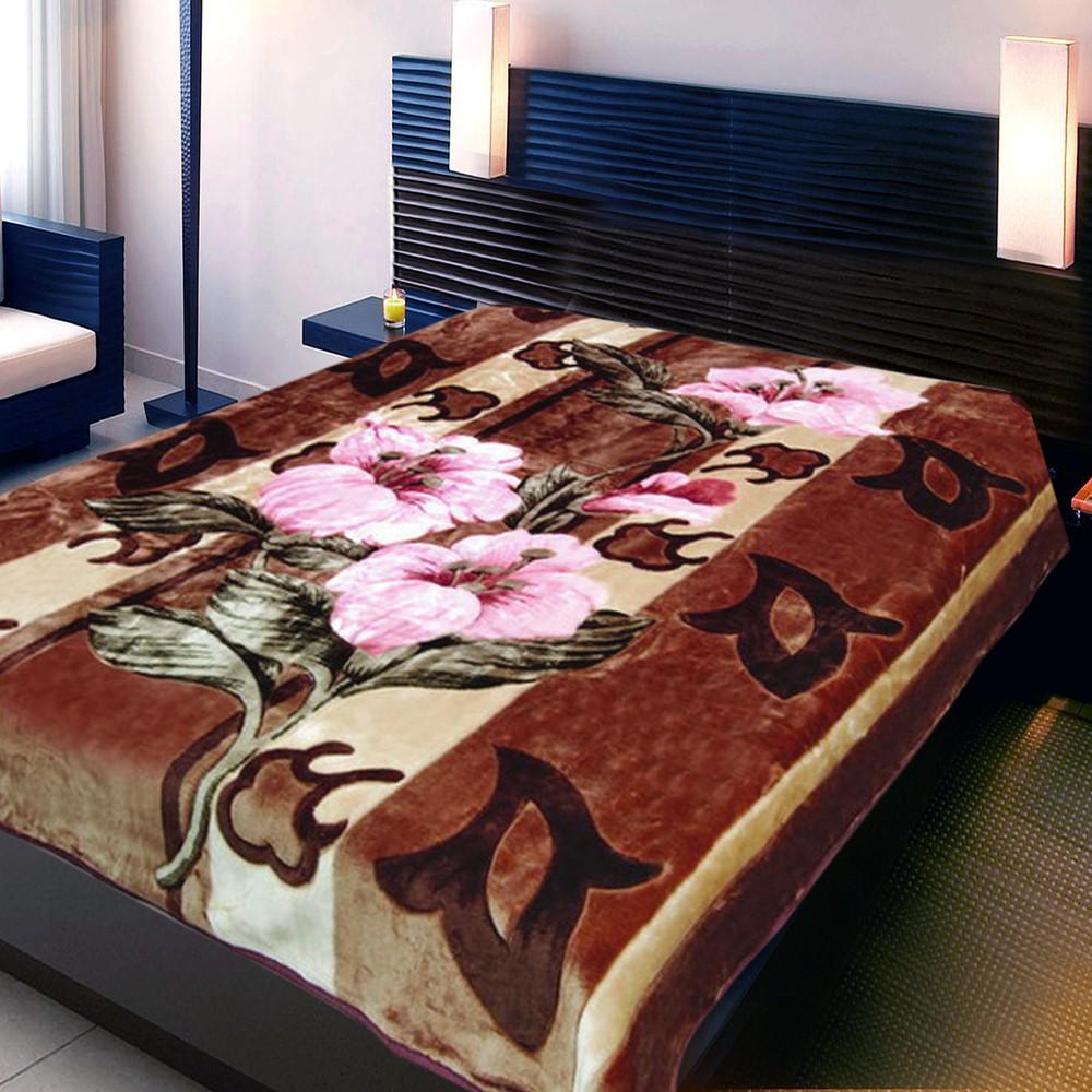 Купить Пледы и покрывала TexRepublic, Плед Лилия (160х220 см), Китай, Коричневый, Розовый, Коралловый флис