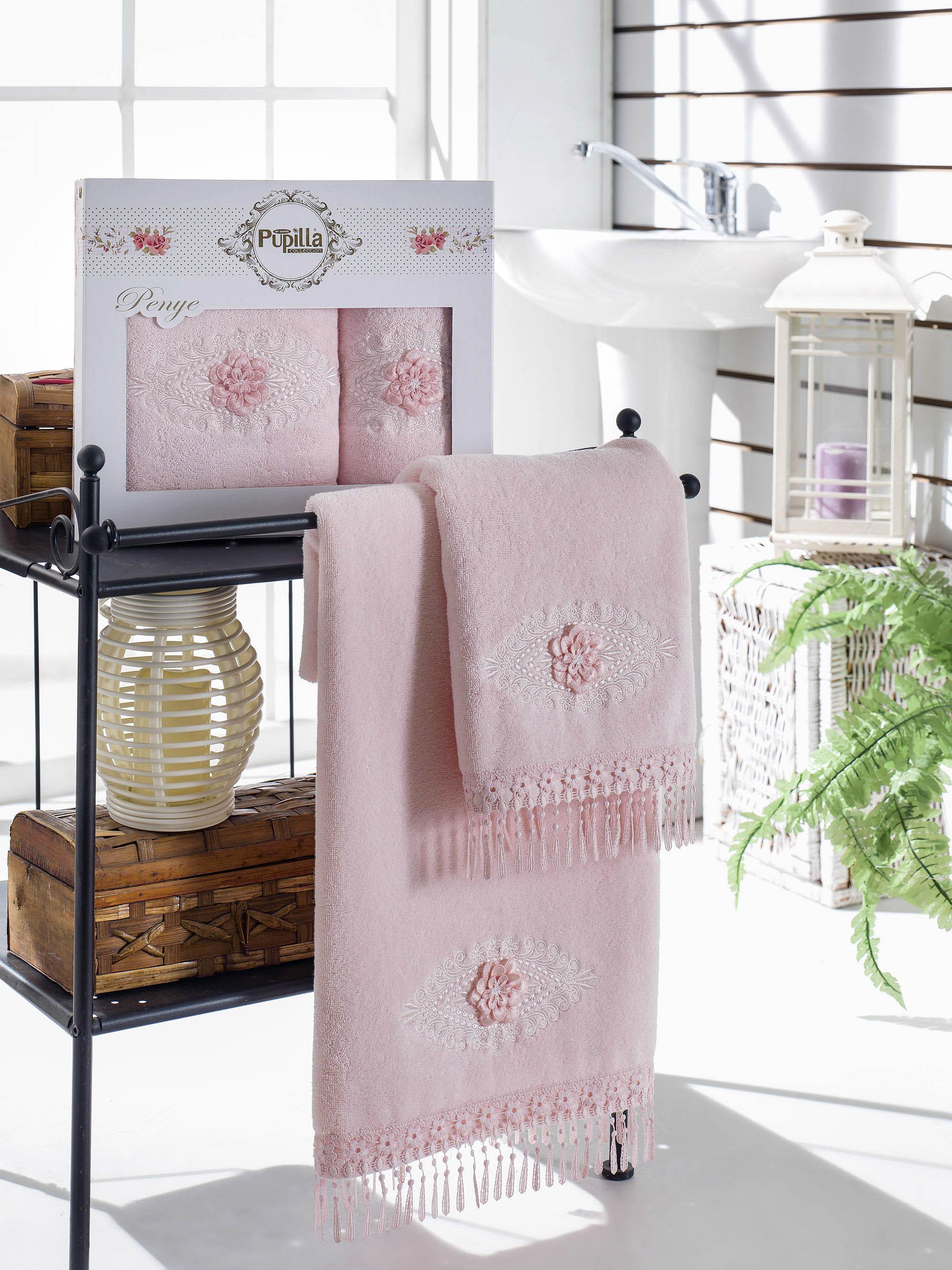 Полотенца Pupilla Набор из 2 полотенец Stil Цвет: Розовый полотенца pupilla набор из 2 полотенец stil цвет кремовый