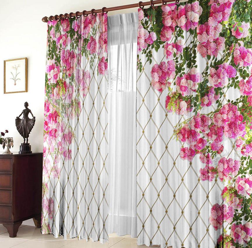 Купить Шторы Elegante, Фотошторы Клематис, Китай, Розовый, Габардин