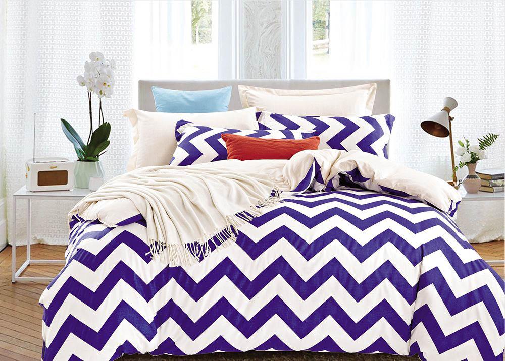 Купить Комплекты постельного белья Tango, Постельное бельеWilburn(2 спал.), Китай, Белый, Фиолетовый, Хлопковый сатин