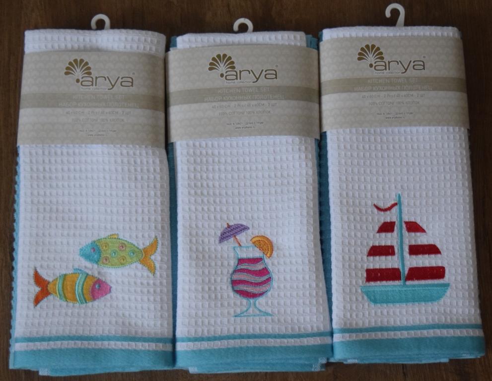 Полотенца Arya Кухонное полотенце Summer Цвет: Белый,Аква (40х60 см - 2 шт) primavelle кухонное полотенце floressa цвет фиолетовый 40х60 см 2 шт
