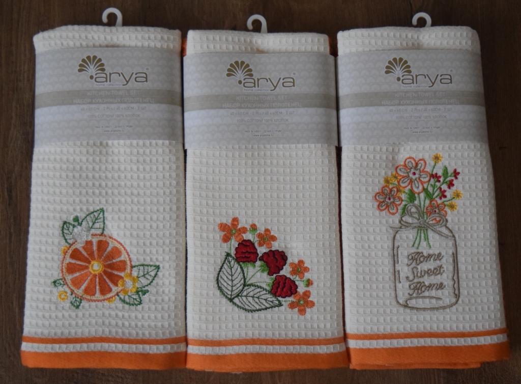 Полотенца Arya Кухонное полотенце Summer Buket Цвет: Экрю, Оранжевый (40х60 см - 2 шт) primavelle кухонное полотенце floressa цвет фиолетовый 40х60 см 2 шт