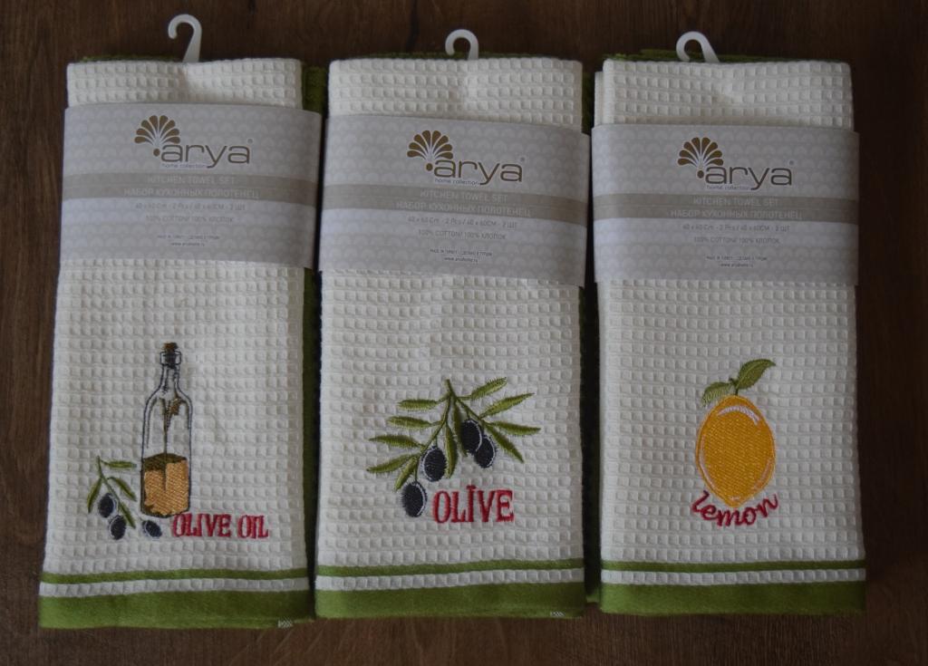 Полотенца Arya Кухонное полотенце Olive Цвет: Экрю,Зеленый (40х60 см - 2 шт) bon appetit кухонное полотенце cake цвет зеленый 40х60 см 2 шт