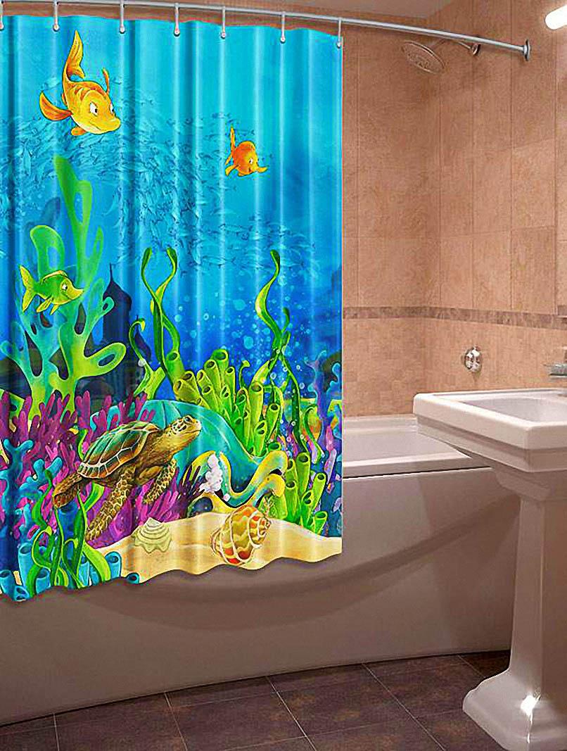 Купить Шторы и карнизы Elegante, Фотошторы для ванной Черепаха, Китай, Голубой, Оксфорд
