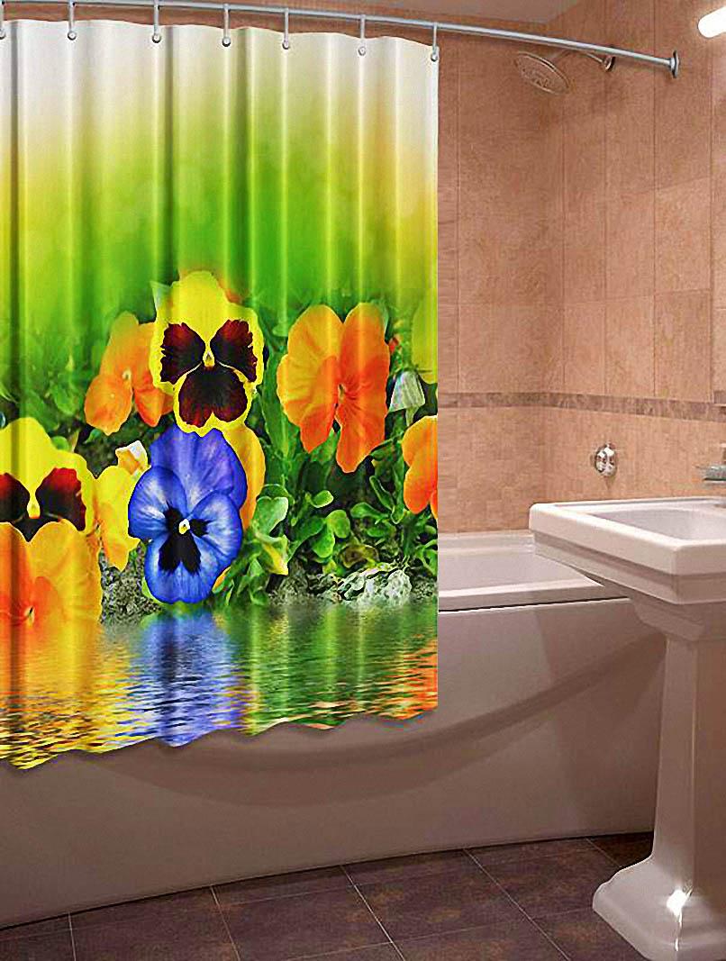 Купить Шторы и карнизы Elegante, Фотошторы для ванной Анютины Глазки, Китай, Желтый, Зеленый, Оксфорд