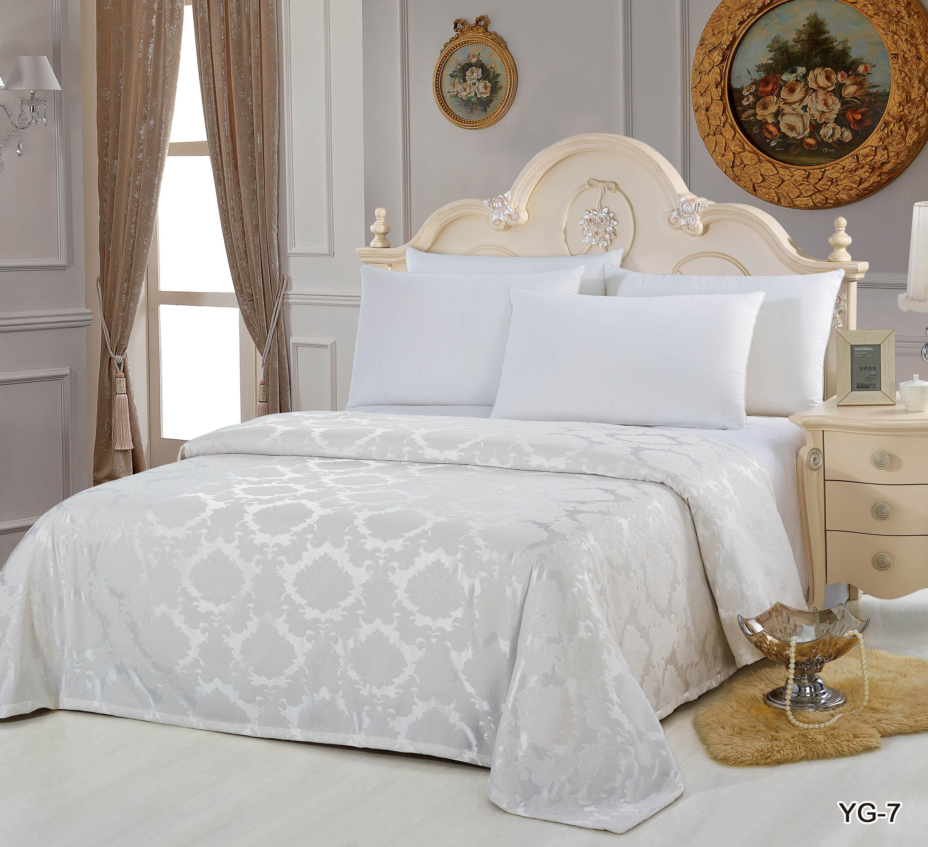 Купить Пледы и покрывала KingSilk, Покрывало Christelle (240х260 см), Китай, Белый, Вискозный жаккард