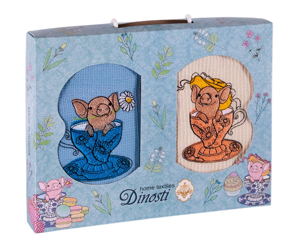Купить Полотенца Dinosti, Кухонное полотенце Свинки в чашке (47х60 см - 2 шт), Россия, Вафля