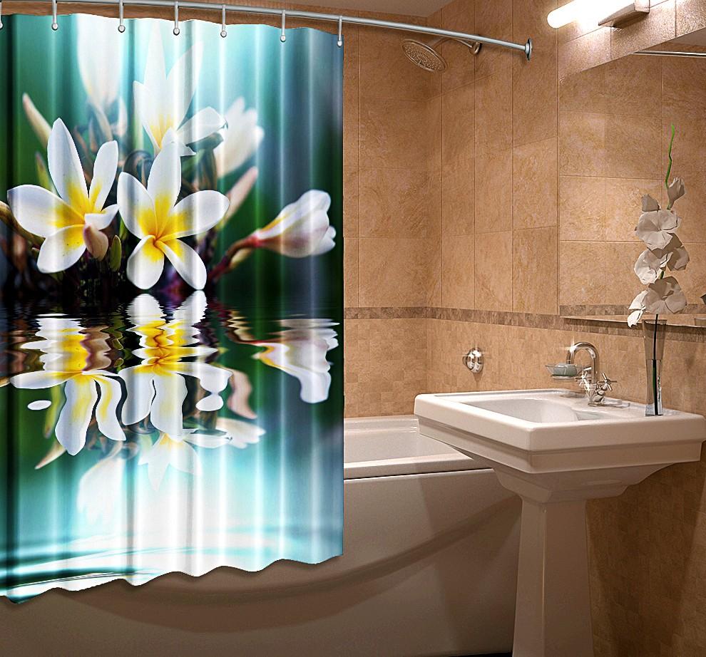 Купить Шторы и карнизы Elegante, Шторы для ванной Флорес, Россия, Голубой, Желтый, Оксфорд