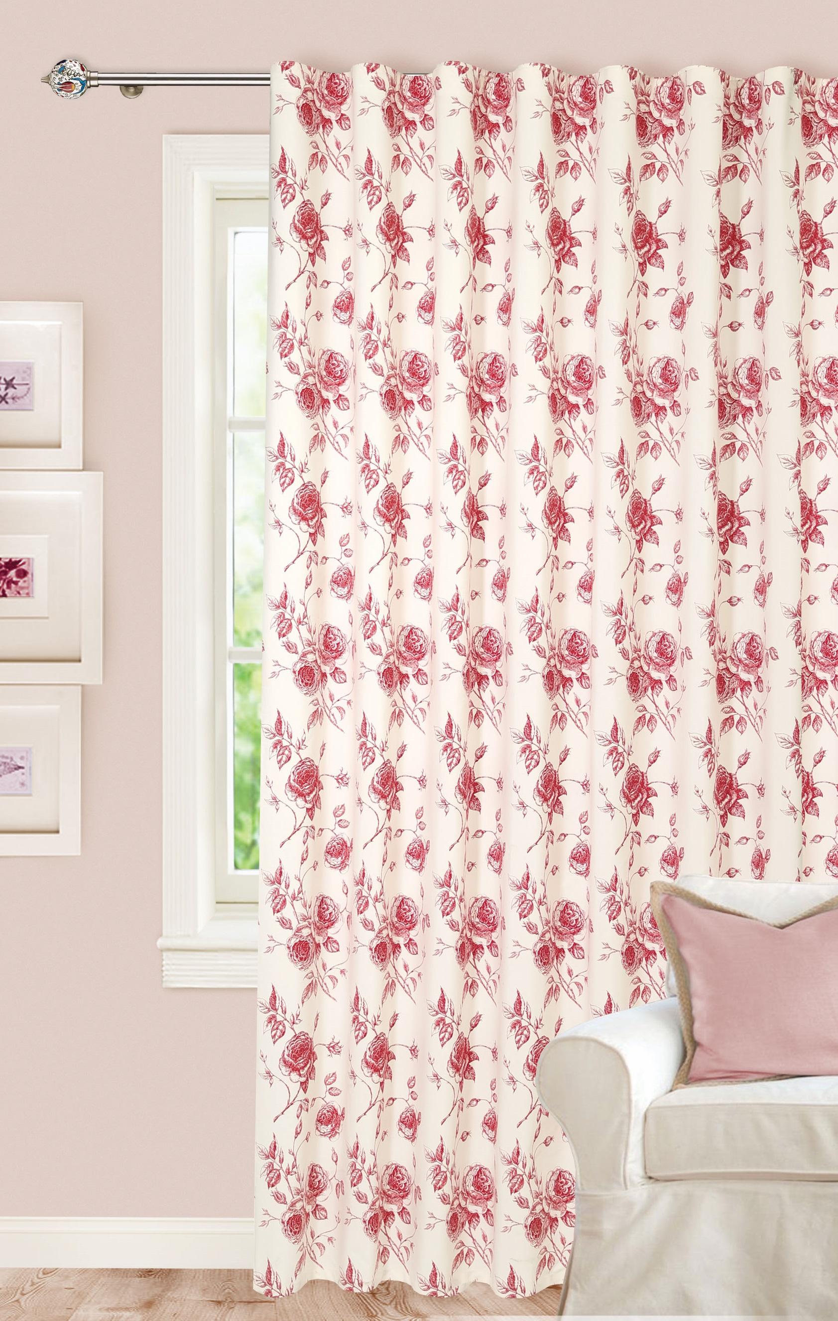Купить Шторы Garden, Классические шторы Jennica Цвет: Красный, Турция, Портьерная ткань