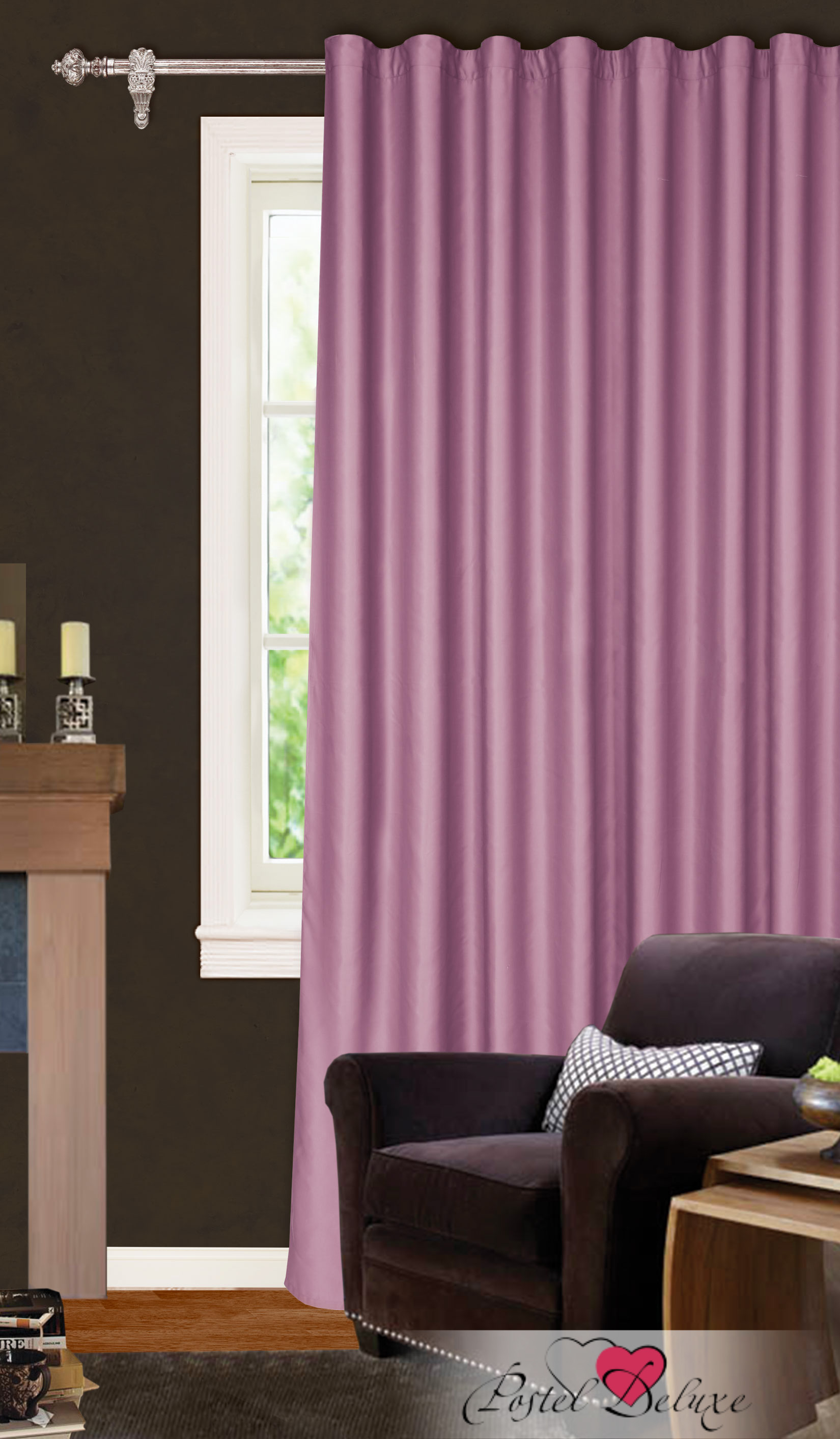 Купить Шторы Garden, Классические шторы Montague Цвет: Сиреневый, Турция, Сатен