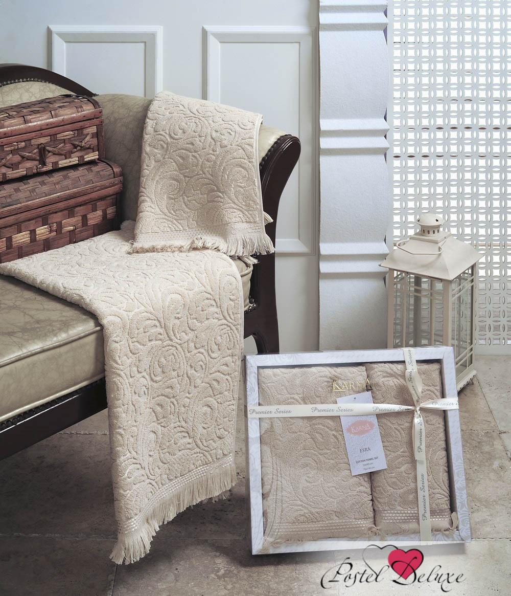 Купить Полотенца Karna, Полотенце Esra Цвет: Бежевый (Набор), Турция, Махра