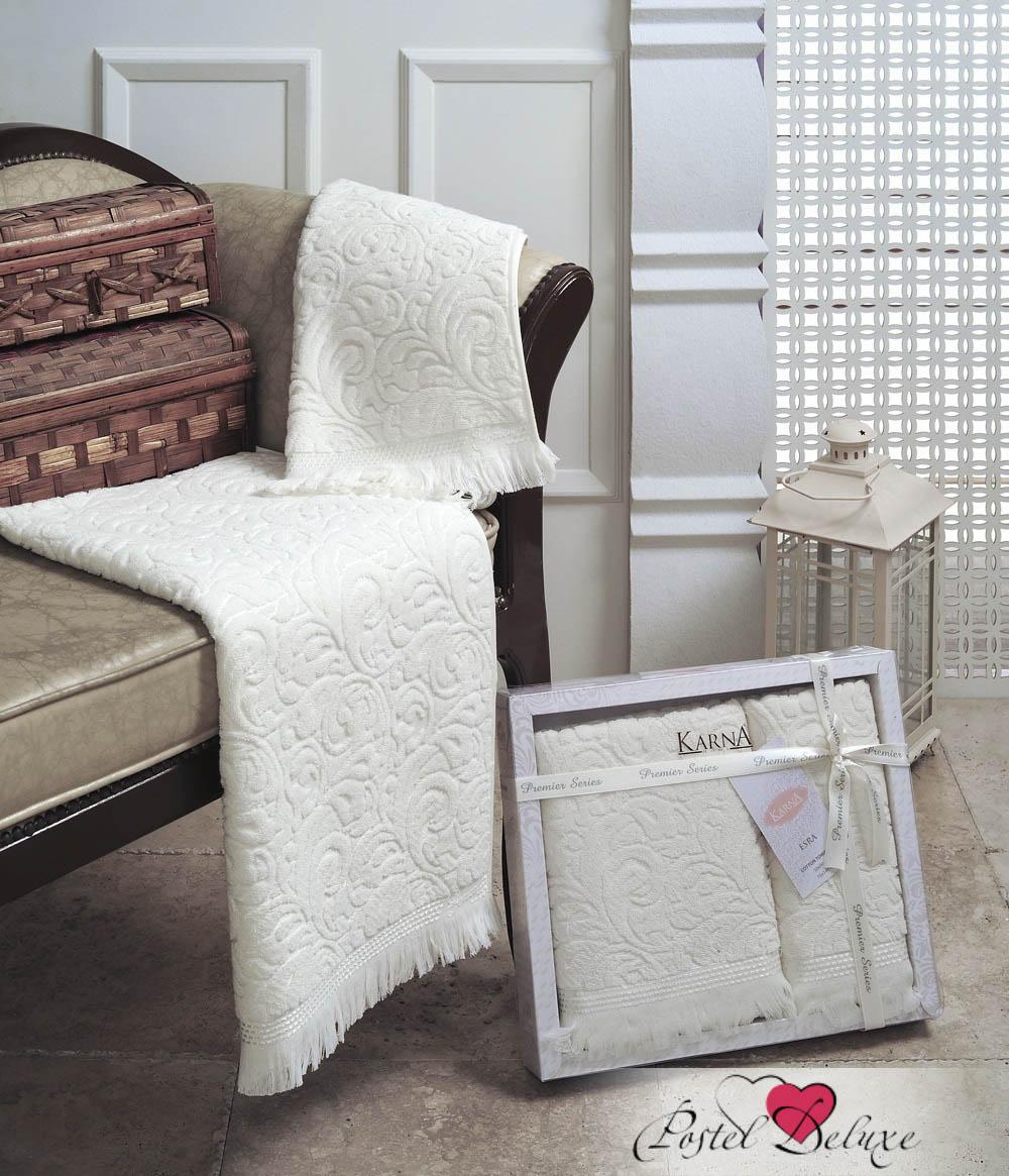 Купить Полотенца Karna, Полотенце Esra Цвет: Кремовый (Набор), Турция, Махра