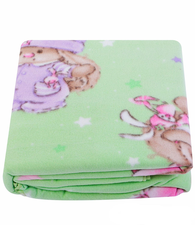 Купить Покрывала, подушки, одеяла для малышей Mona Liza, Детский плед Зайка на полянке (150х200 см), Россия, Зеленый, Синтетический флис