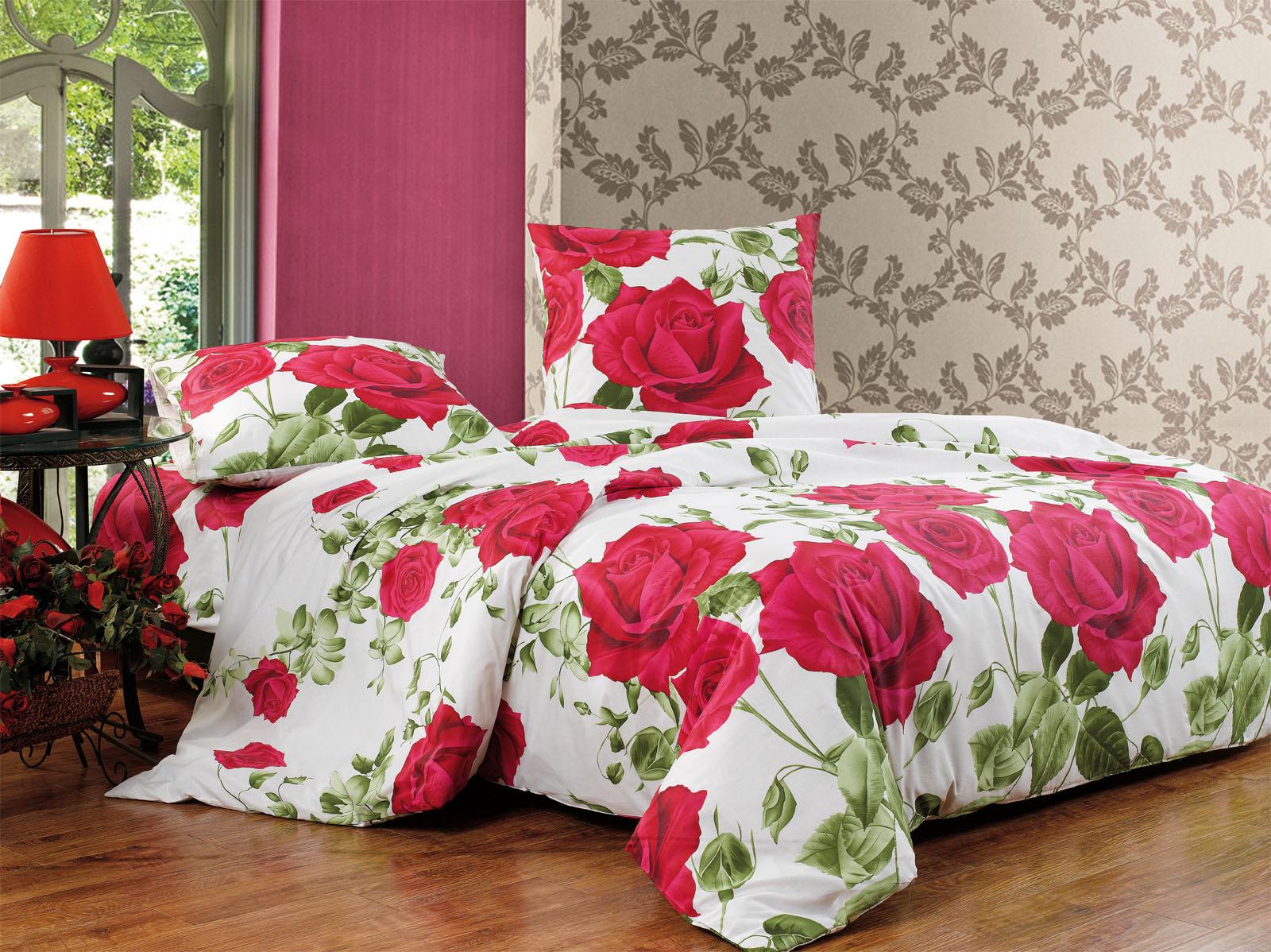 Купить Комплекты постельного белья СайлиД, Постельное белье Livino А/s-117 (2 сп. евро), Китай, Белый, Красный, Поплин