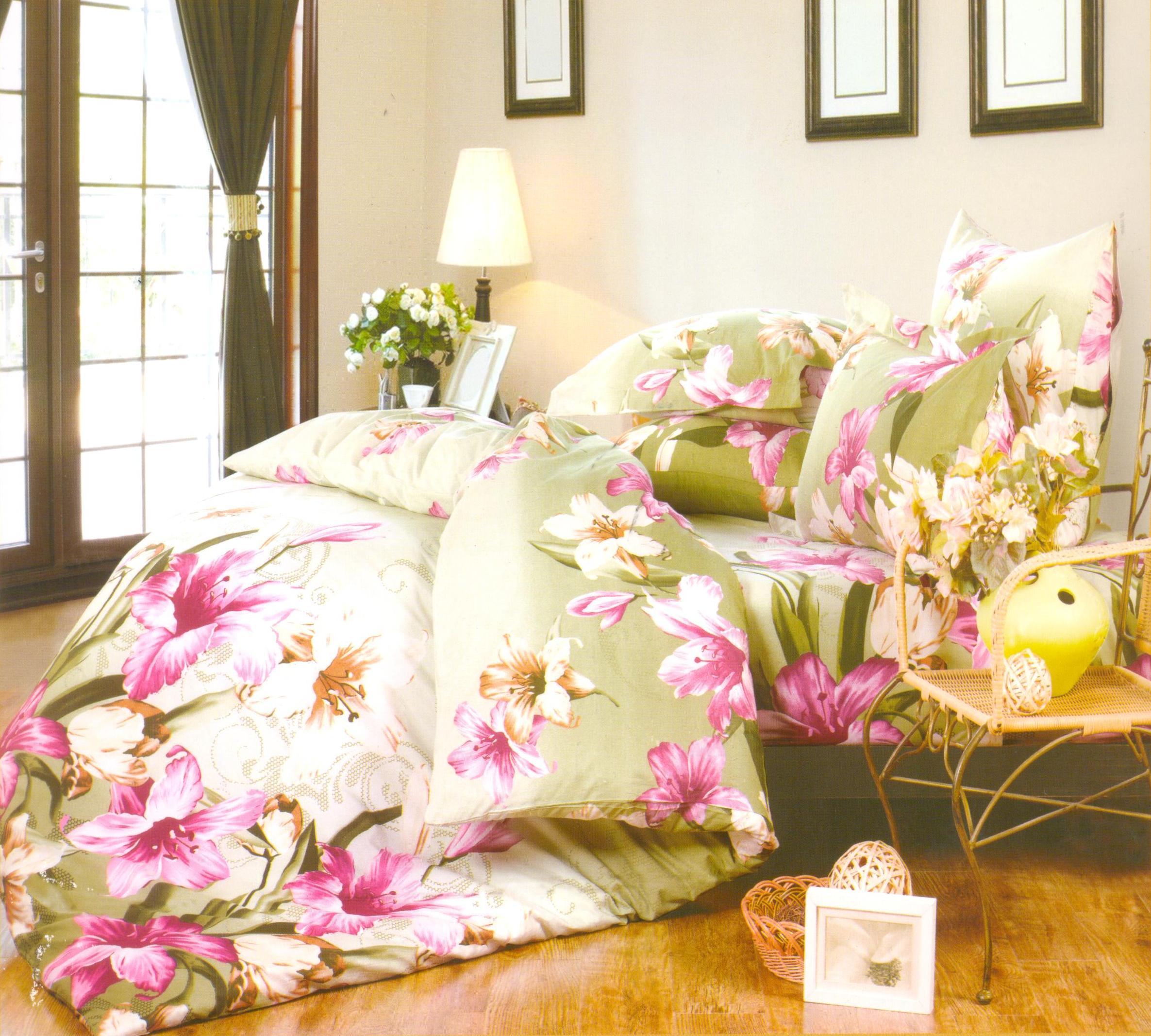 Купить Комплекты постельного белья СайлиД, Постельное белье Pontevico А/s-124 (2 сп.), Китай, Зеленый, Розовый, Поплин