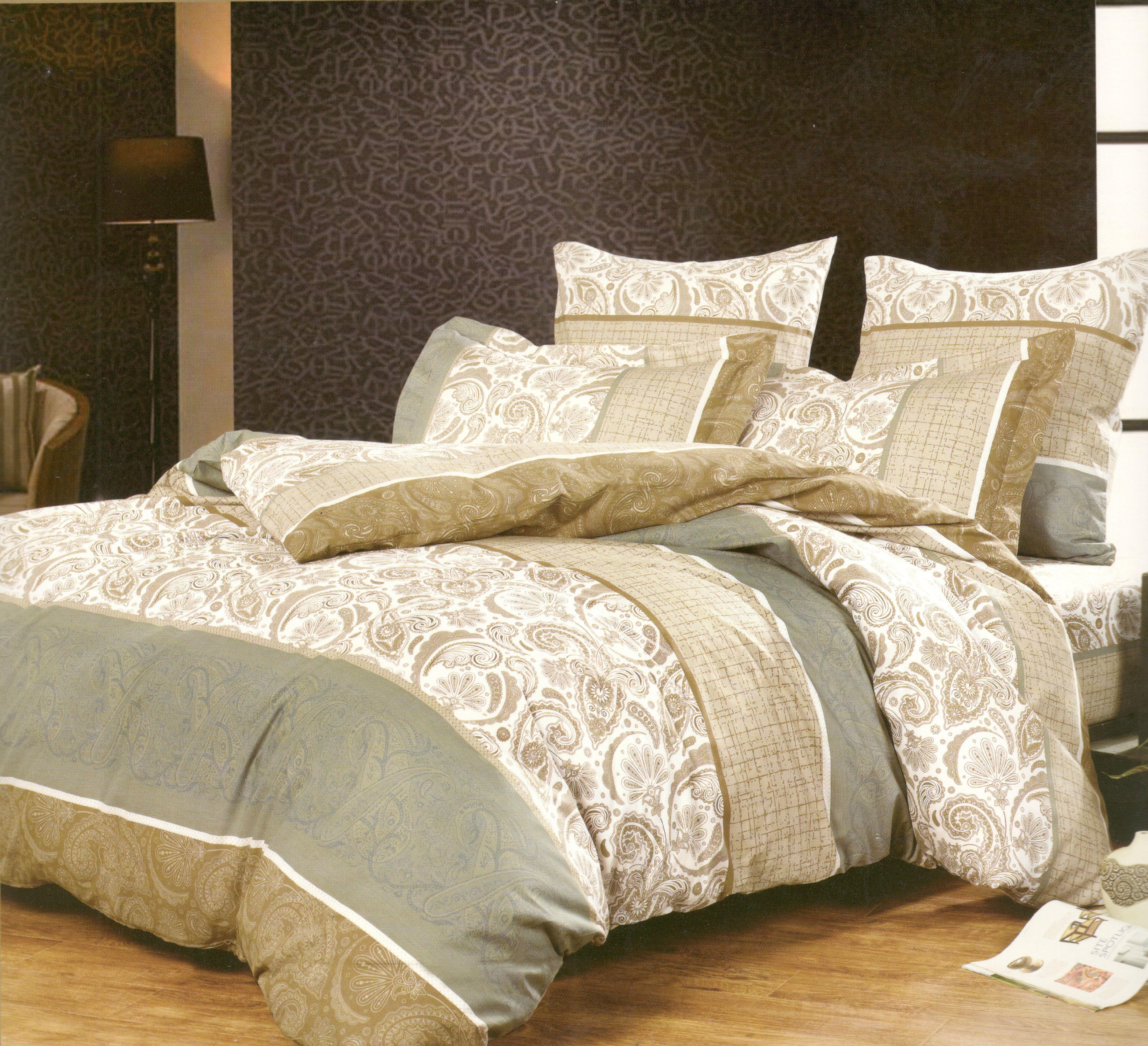 Купить Комплекты постельного белья СайлиД, Постельное белье Luxmedusa А/s-125 (сем.), Китай, Зеленый, Поплин