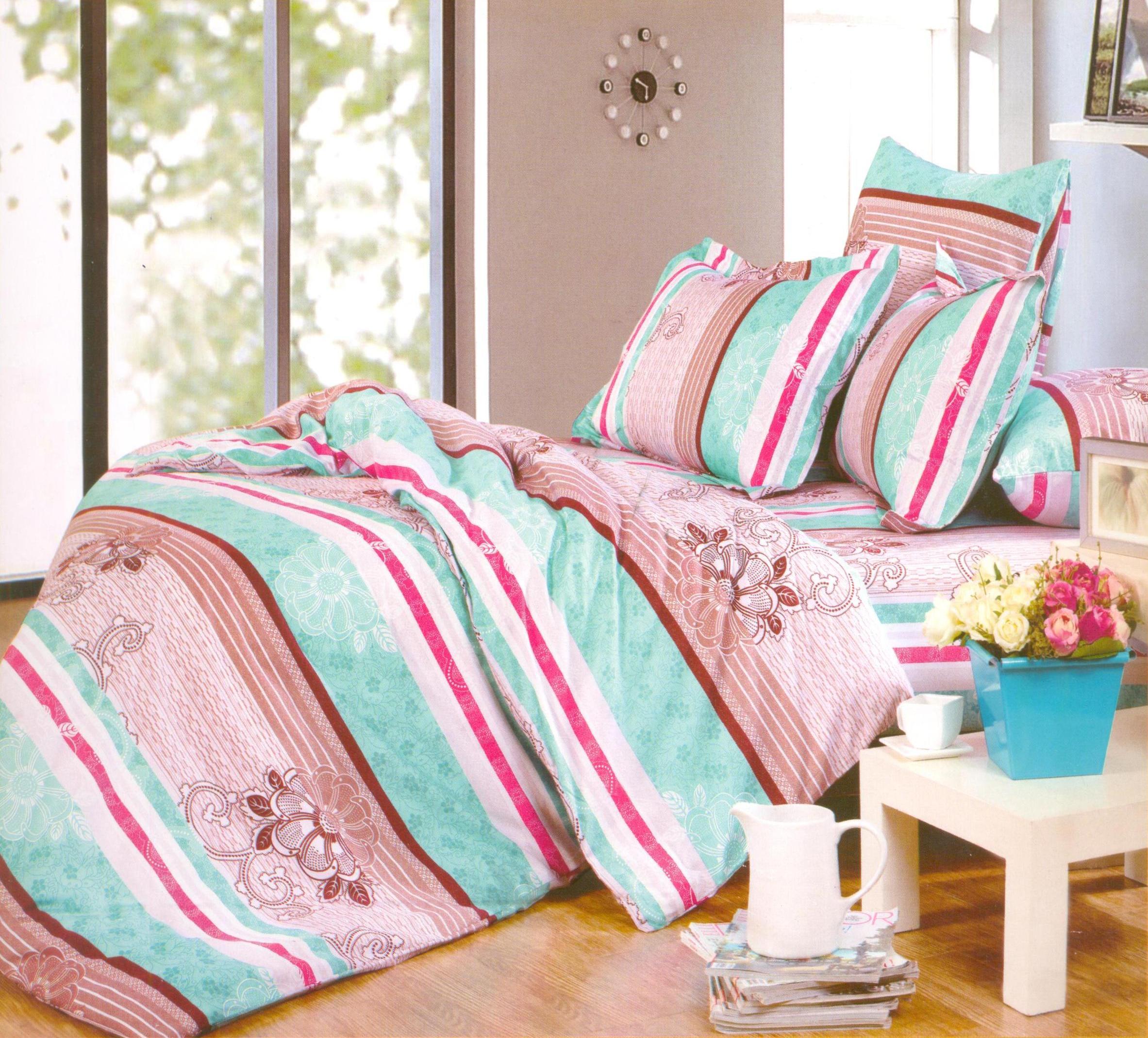 Купить Комплекты постельного белья СайлиД, Постельное белье Trust А/s-138 (2 сп. евро), Китай, Голубой, Коричневый, Поплин