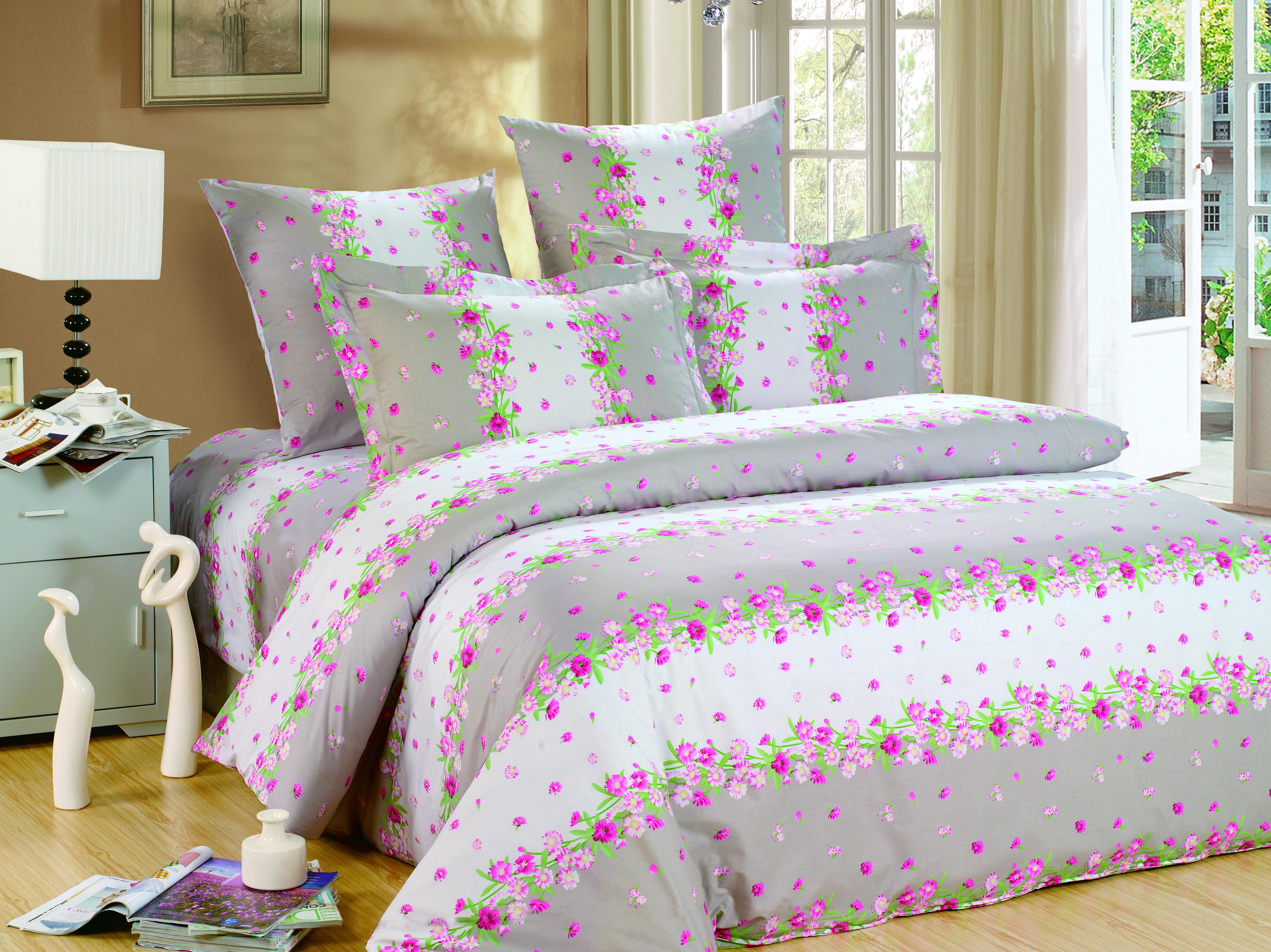 Купить Комплекты постельного белья СайлиД, Постельное белье Taltal А/s-142 (2 сп.), Китай, Бежевый, Розовый, Серый, Поплин