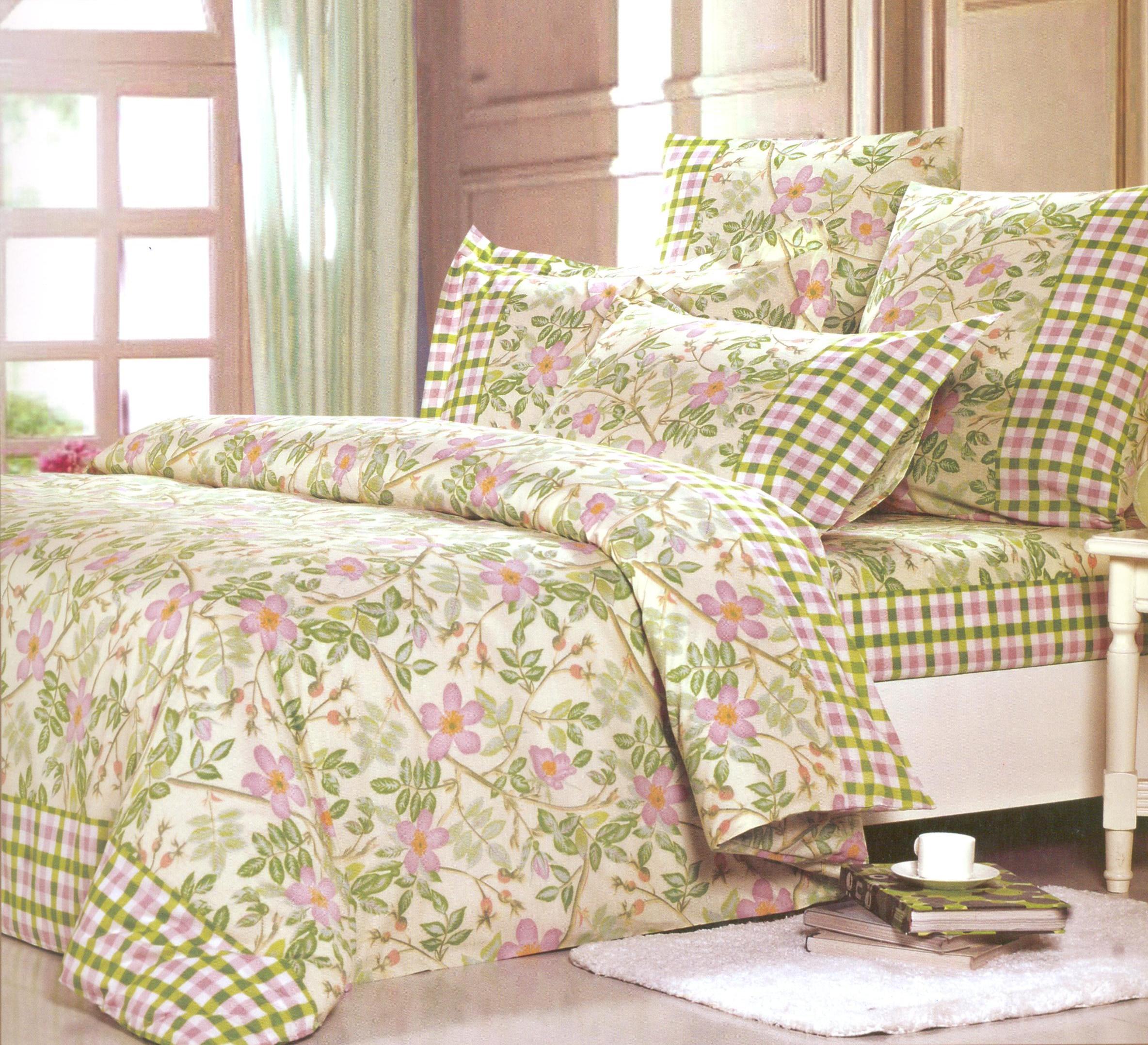 Купить Комплекты постельного белья СайлиД, Постельное белье Itai А/s-157 (семейное), Китай, Зеленый, Поплин