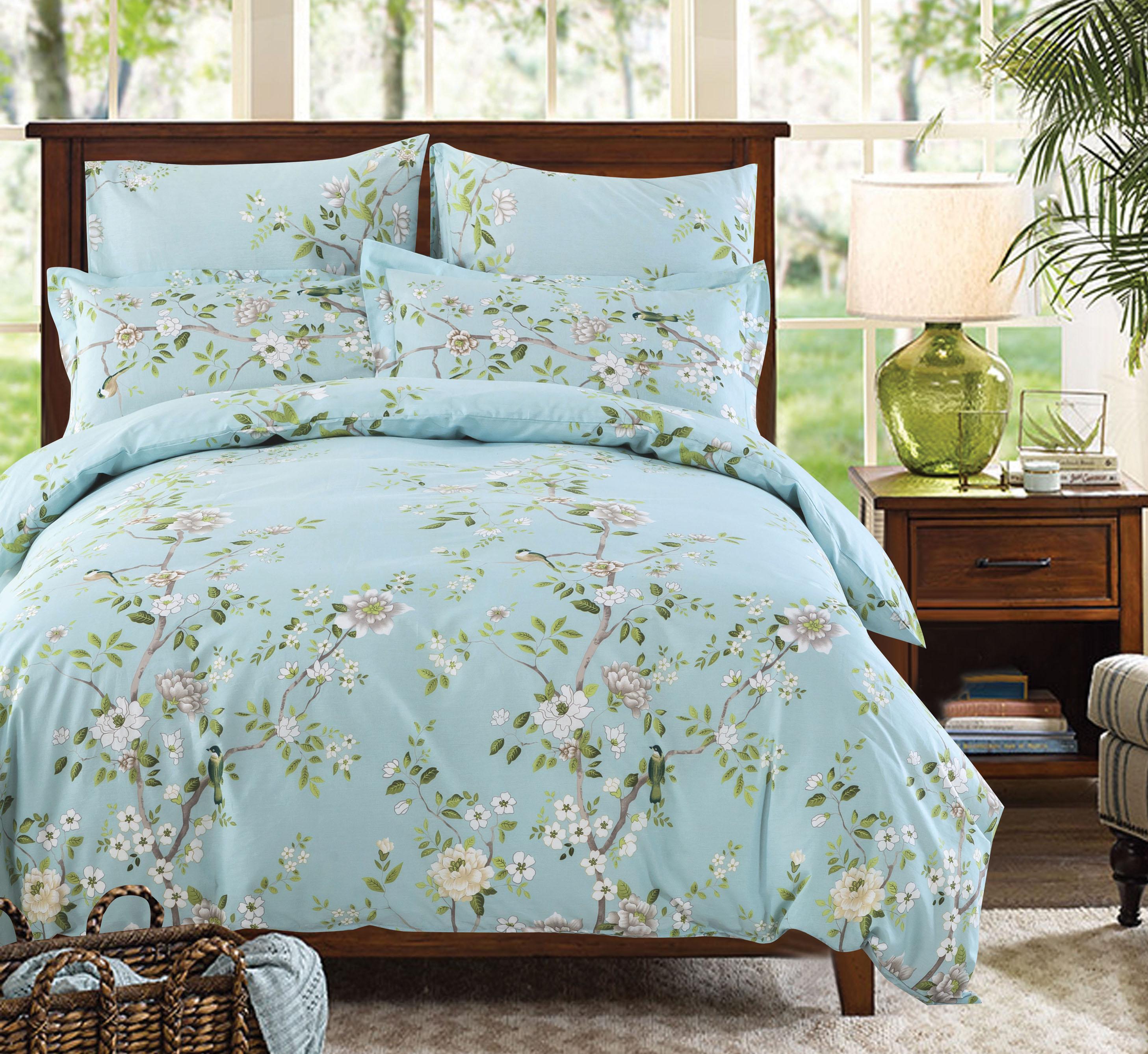 Комплекты постельного белья СайлиД, Постельное белье Edna A-175 (1, 5 спал.), Китай, Голубой, Поплин  - Купить