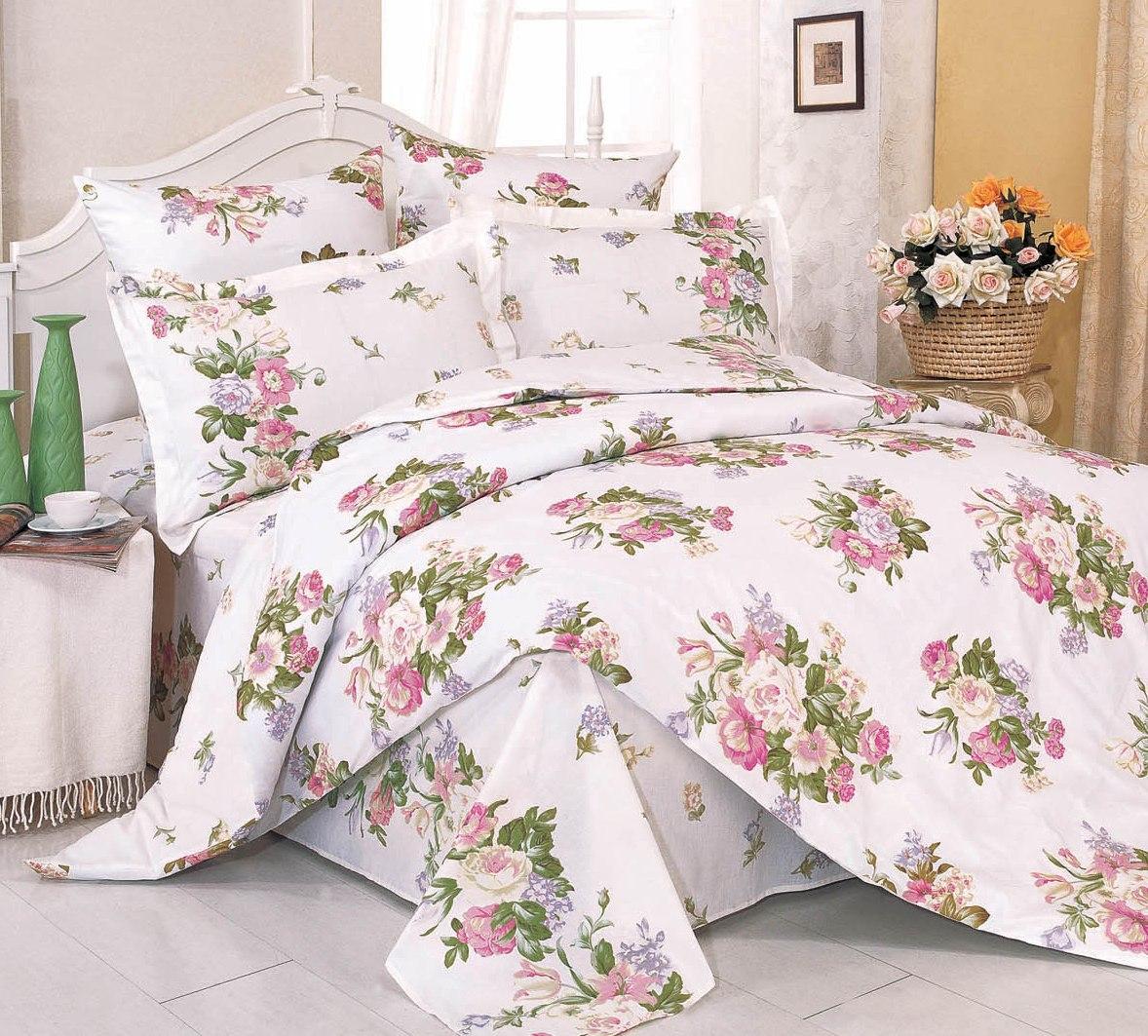 Купить Комплекты постельного белья СайлиД, Постельное белье Imani А/s-28 (2 сп. евро), Китай, Зеленый, Кремовый, Розовый, Поплин