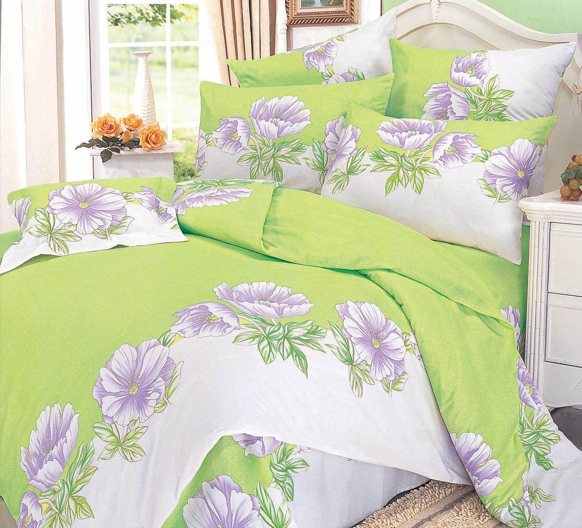 Купить Комплекты постельного белья СайлиД, Постельное белье Lavander А/s-32 (1, 5 сп.), Китай, Зеленый, Сиреневый, Поплин