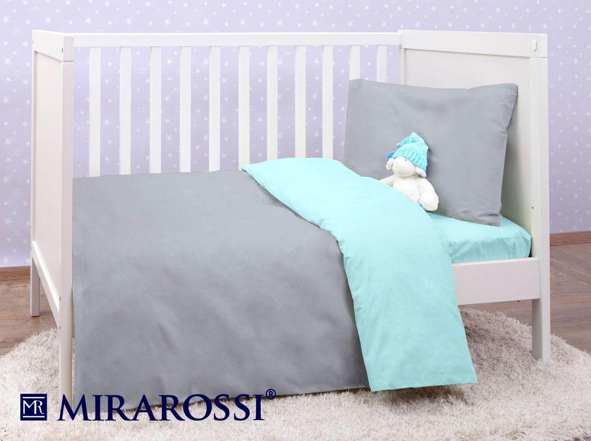 Купить Детское постельное белье MIRAROSSI, Детское Постельное белье Teddy (115х147 см), Россия, Голубой, Серый, Хлопковый трикотаж