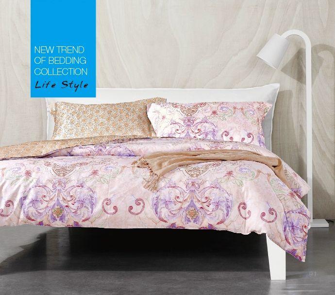 Купить Комплекты постельного белья Tango, Постельное белье Penny (семейное), Китай, Бежевый, Розовый, Хлопковый сатин