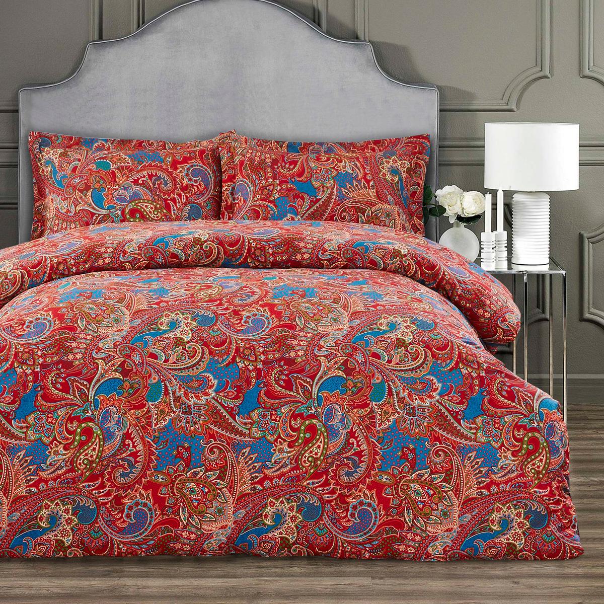 Купить Комплекты постельного белья Arya, Постельное белье Flamare Цвет: Красный (2 сп. евро), Турция, Хлопковый сатин