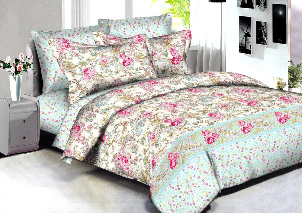 Купить Комплекты постельного белья Amore Mio, Постельное белье Paris (2 сп. евро), Китай, Голубой, Сиреневый, Хлопковый сатин