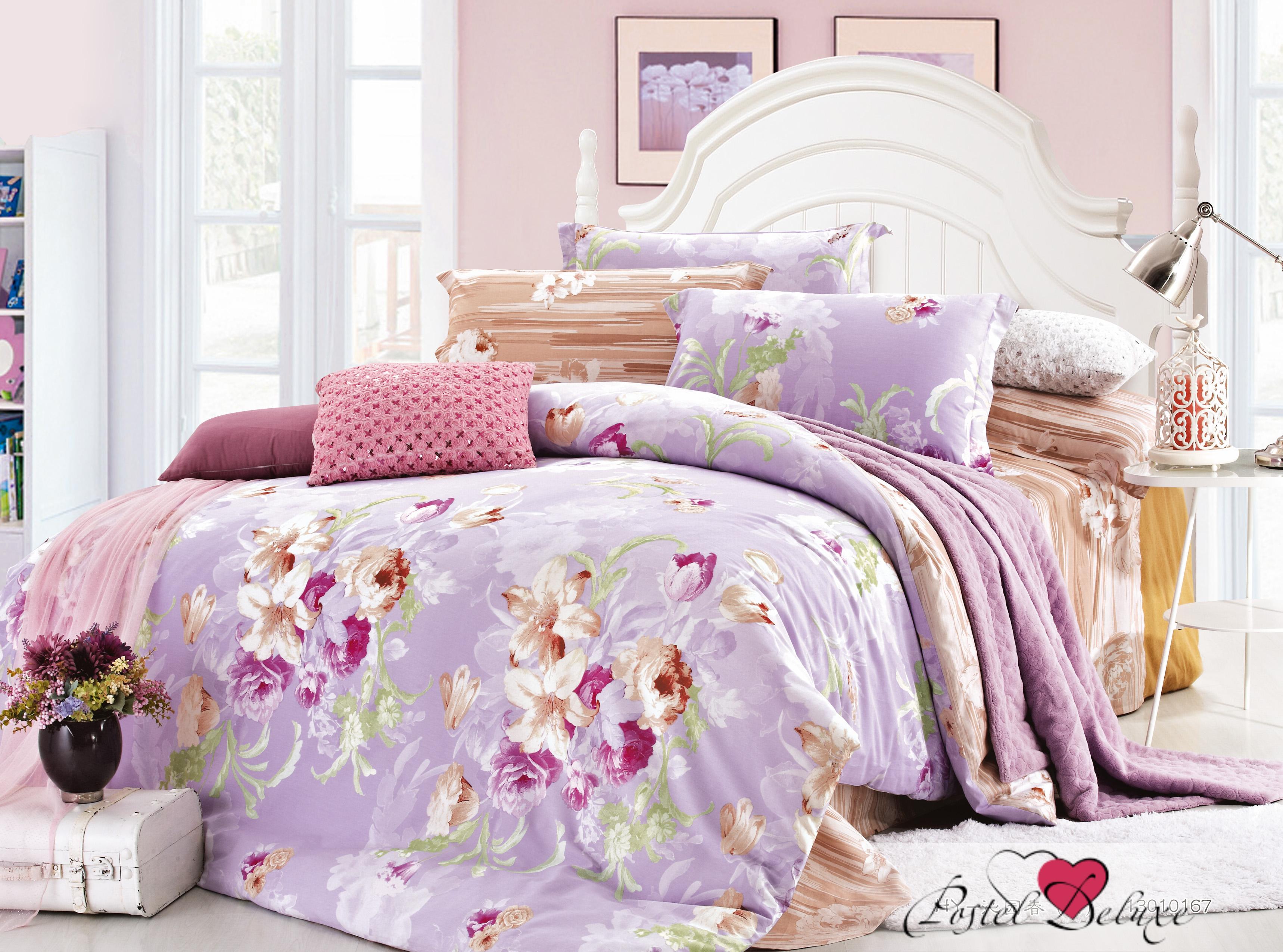 Купить Комплекты постельного белья Amore Mio, Постельное белье Подарок(1, 5 спал.), Китай, Сиреневый, Хлопковый сатин