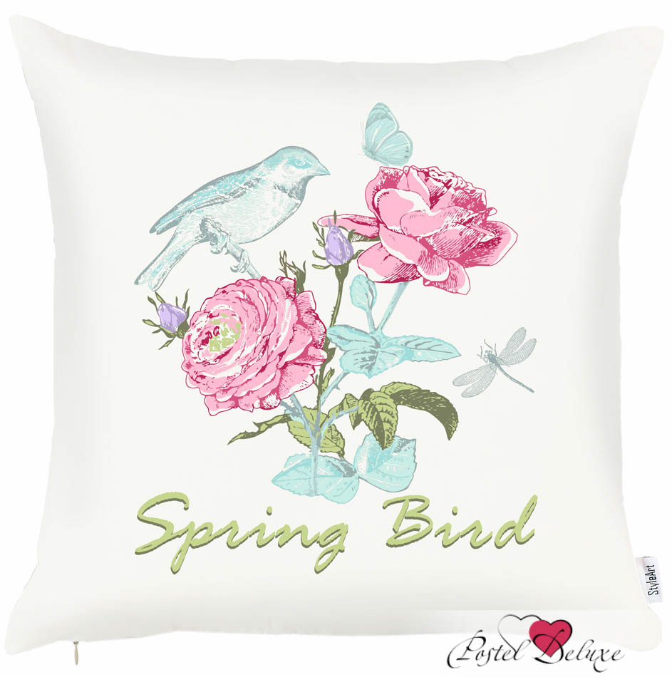 Купить Декоративные подушки Apolena, Декоративная наволочка Spring Bird(43х43), Россия-Турция, Белый, Розовый, Микрофибра