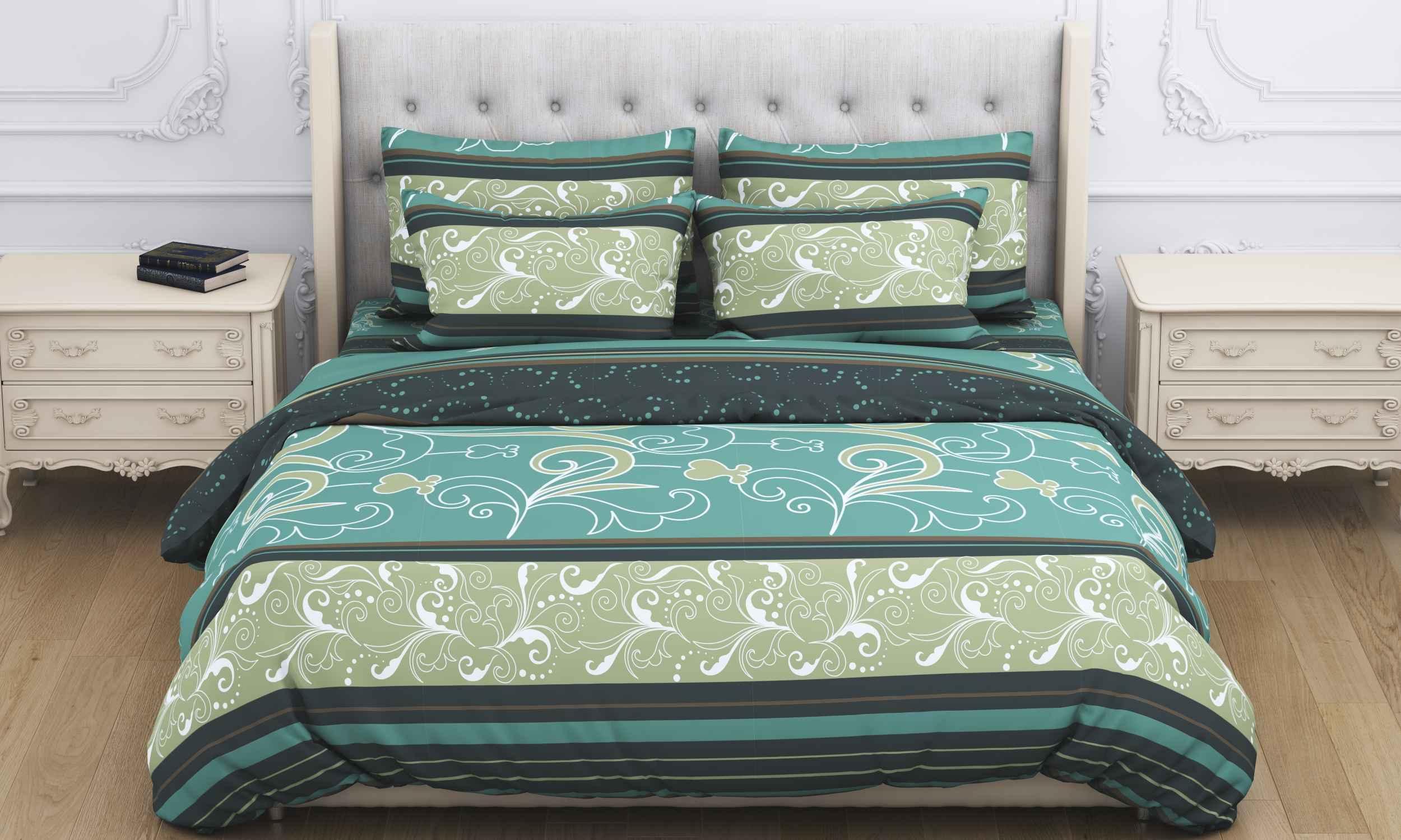 Купить Комплекты постельного белья Amore Mio, Постельное белье Atyd Цвет: Зеленый (2 сп. евро), Китай, Бязь
