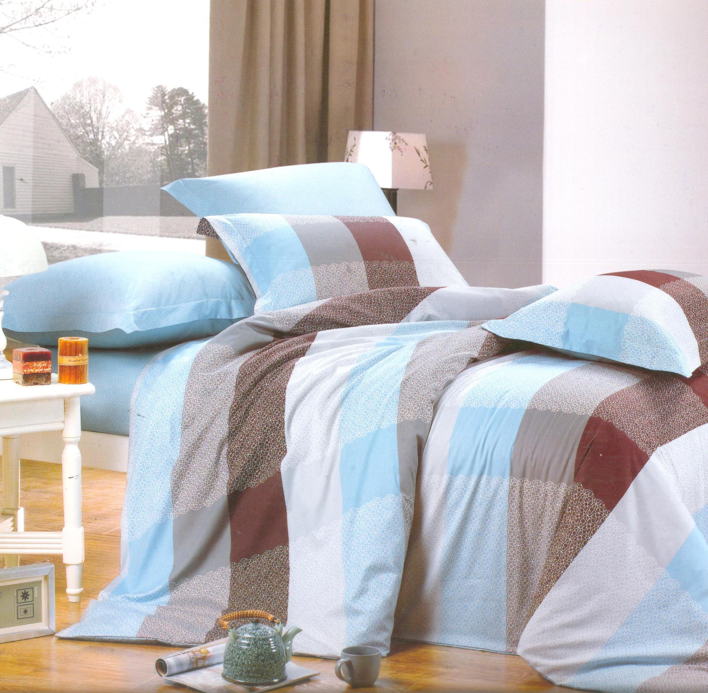 Купить Комплекты постельного белья СайлиД, Постельное белье Heather B-103 (2 сп. евро), Китай, Голубой, Коричневый, Хлопковый сатин