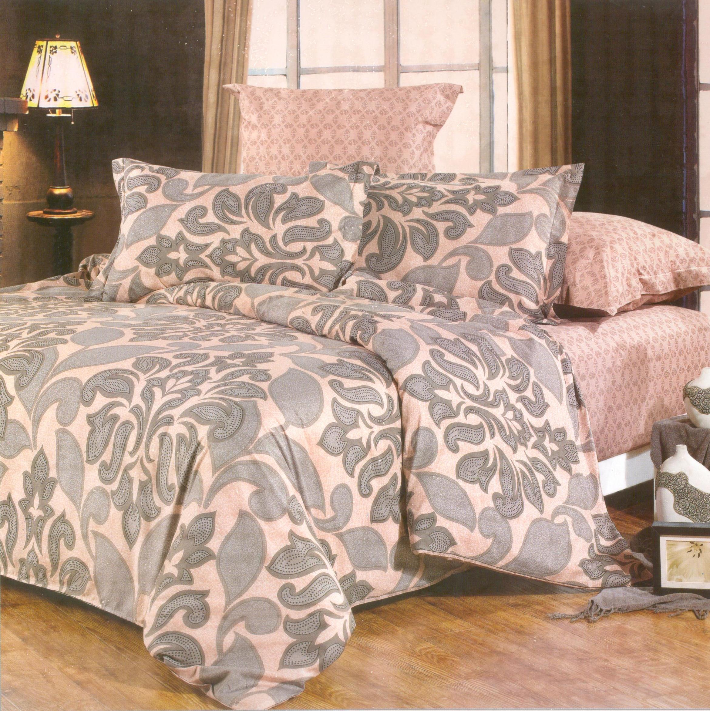 Купить Комплекты постельного белья СайлиД, Постельное белье Miah B-104 (2 сп. евро), Китай, Бежевый, Розовый, Серый, Хлопковый сатин