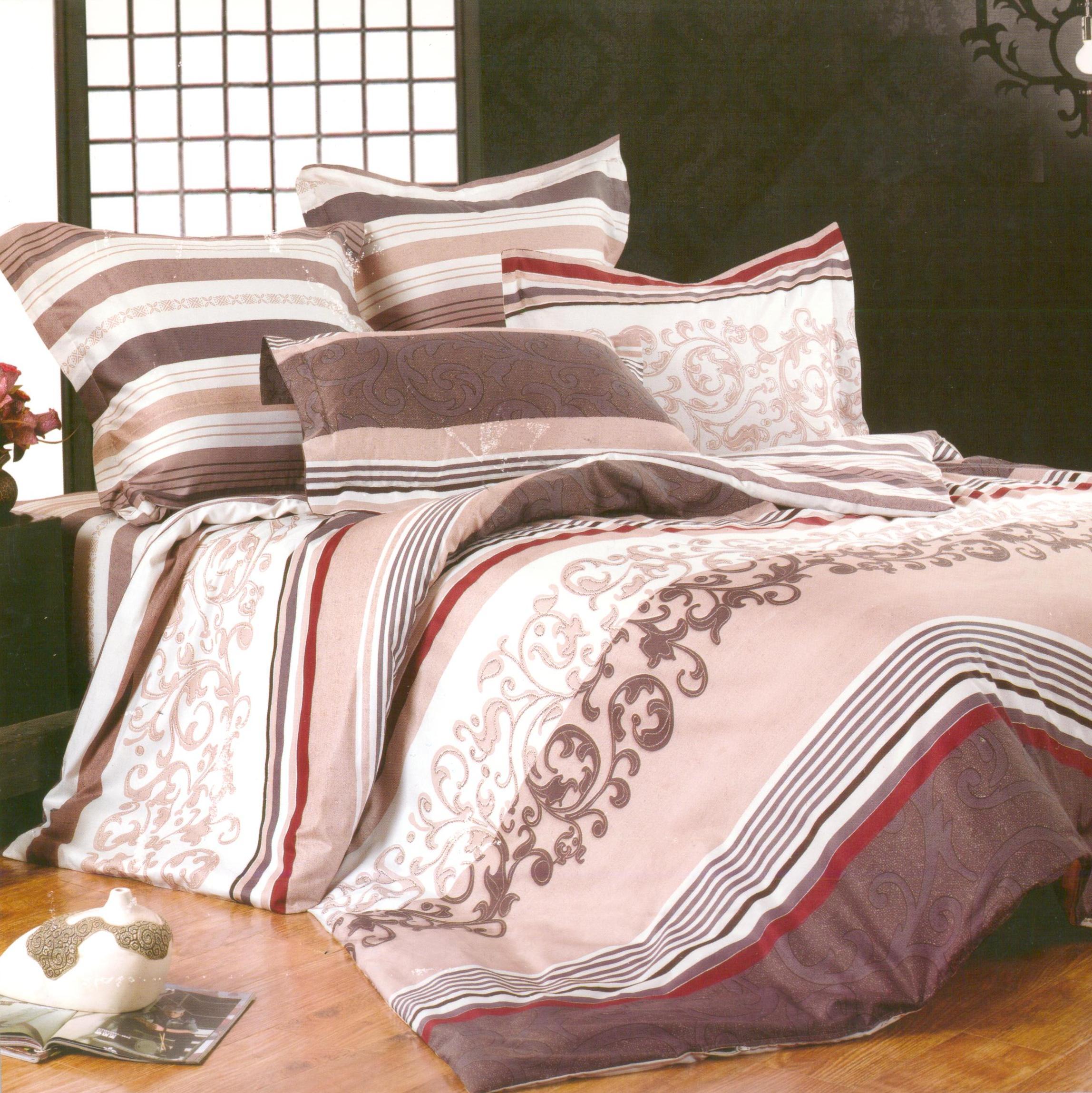 Купить Комплекты постельного белья СайлиД, Постельное белье Elyse B-108 (2 сп. евро), Китай, Белый, Персиковый, Розовый, Серый, Хлопковый сатин