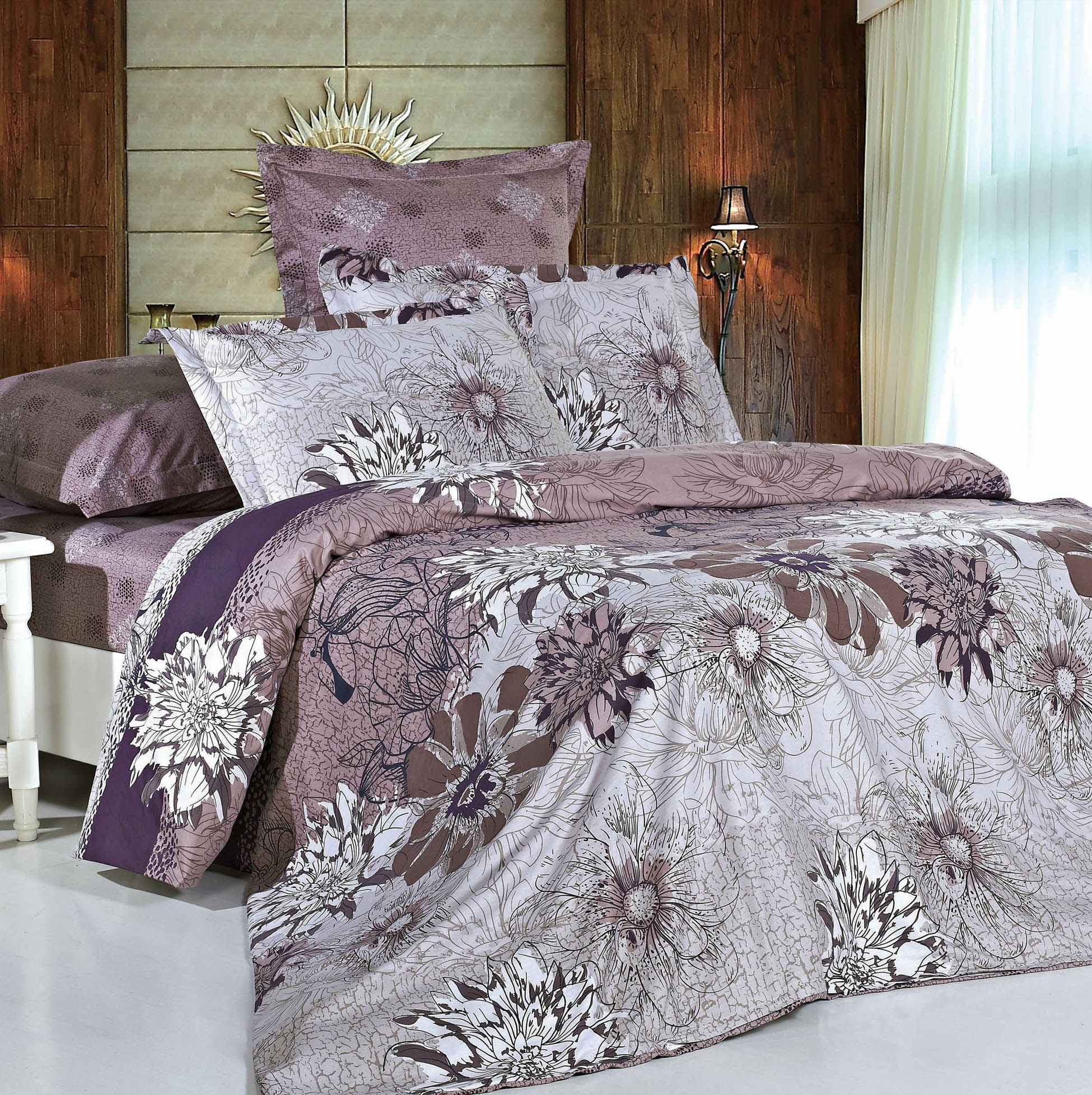 Купить Комплекты постельного белья СайлиД, Постельное белье Azel B-123 (2 сп. евро), Китай, Сиреневый, Фиолетовый, Хлопковый сатин
