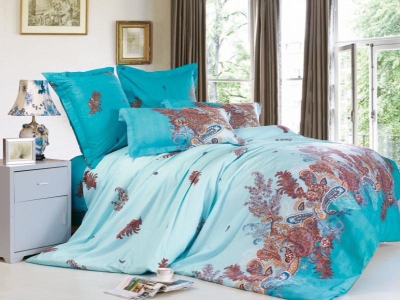 Купить Комплекты постельного белья СайлиД, Постельное белье Nirvana B-140 (2 сп. евро), Китай, Голубой, Хлопковый сатин