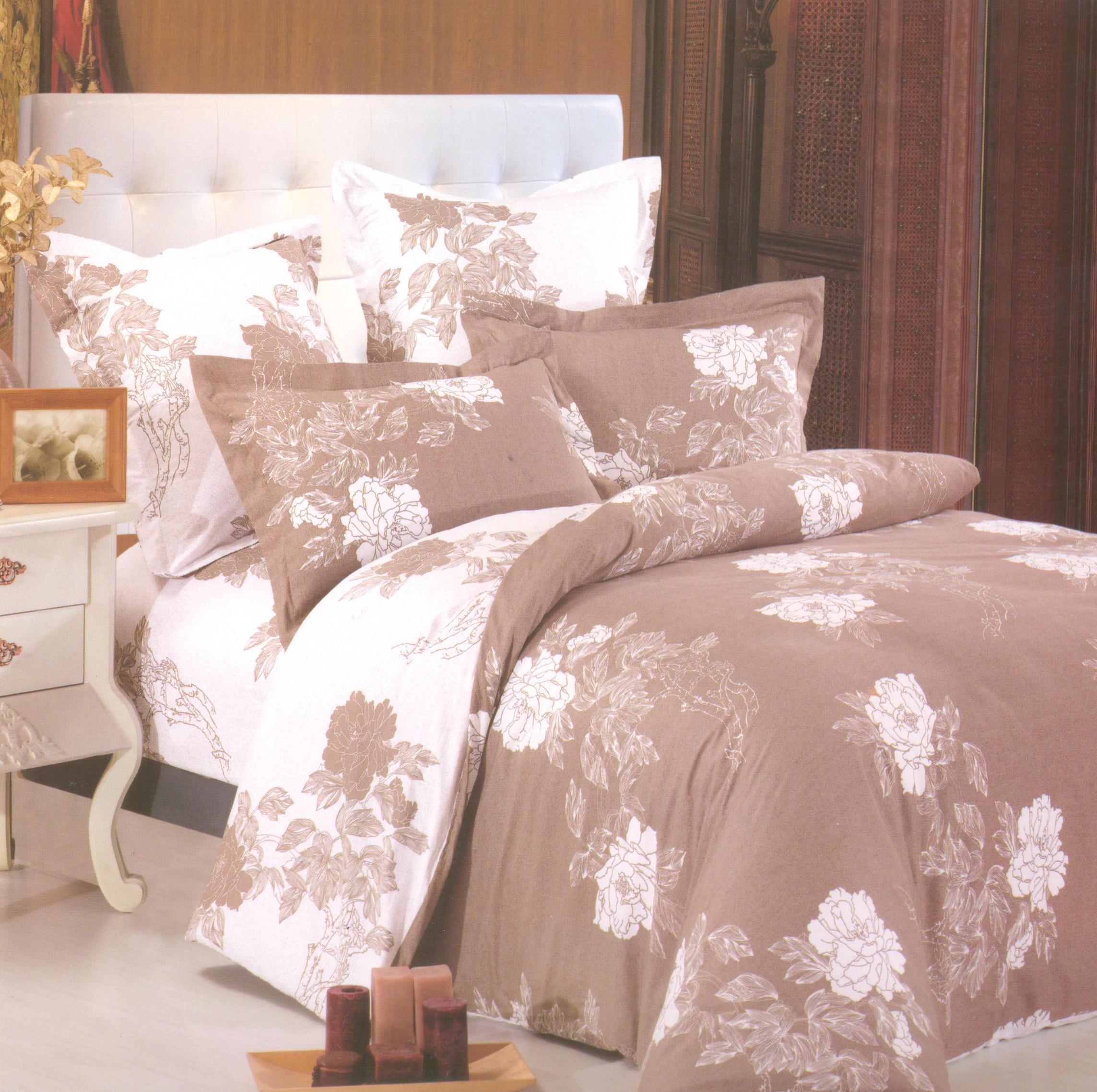Купить Комплекты постельного белья СайлиД, Постельное белье Lavinia B-141 (2 сп. евро), Китай, Белый, Коричневый, Хлопковый сатин