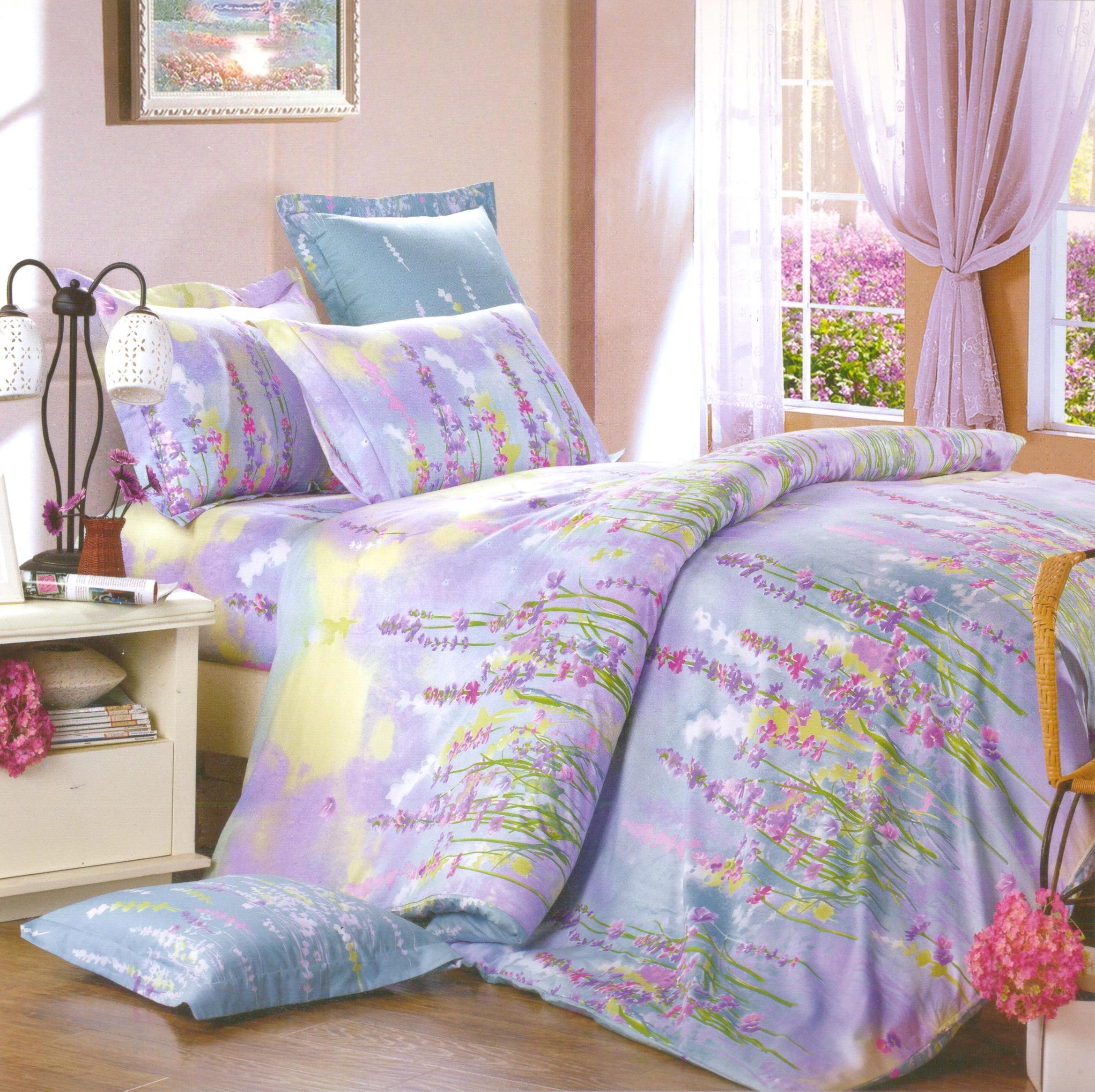 Купить Комплекты постельного белья СайлиД, Постельное белье Revi B-143 (2 спал.), Китай, Сиреневый, Хлопковый сатин